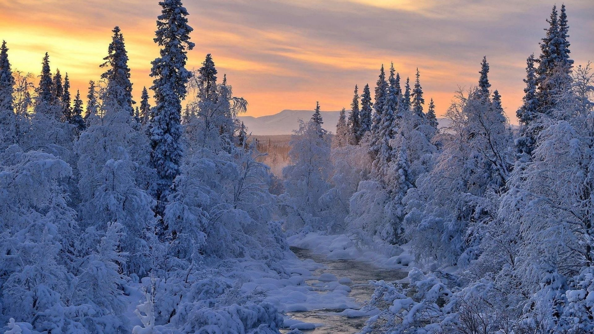 1920x1080 Sunset Tag - Landscape River Winter Sunset Snow Beautiful Nature Hd  Wallpapers Free Download for HD