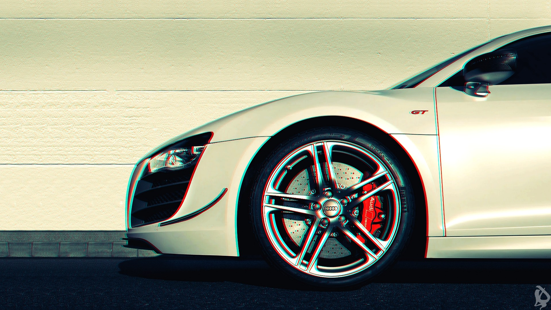 1920x1080 Preview wallpaper audi r8, anaglyph, 3d, car