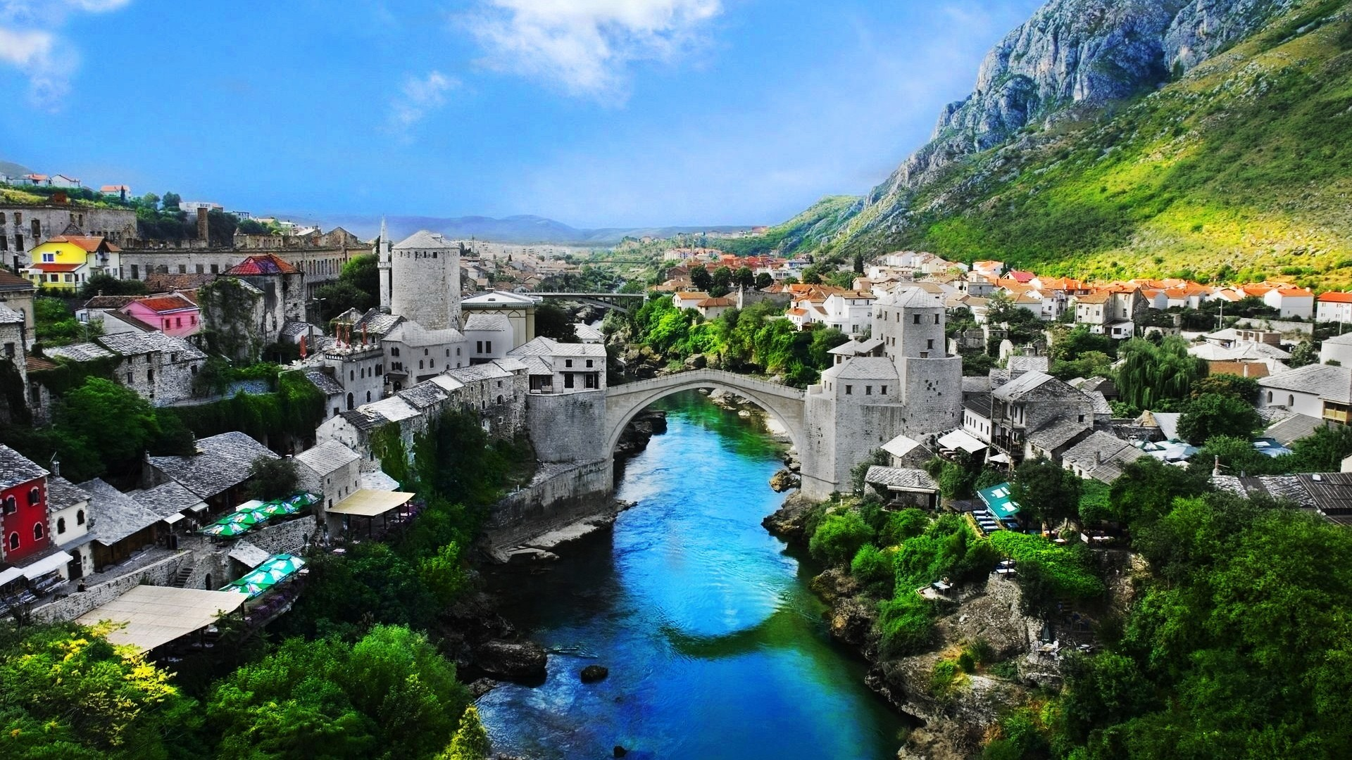 1920x1080  Wallpaper bosnia and herzegovina, mostar old town, mostar, nature,  landscape