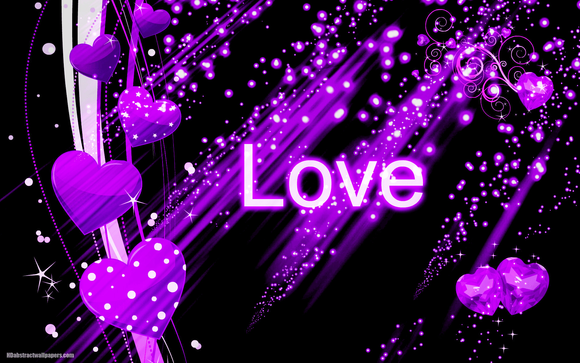 1920x1200 Beautiful black abstract wallpaper with purple love hearts and the text  love. Send this background to your boy or girlfriend, just to say that you  are ...
