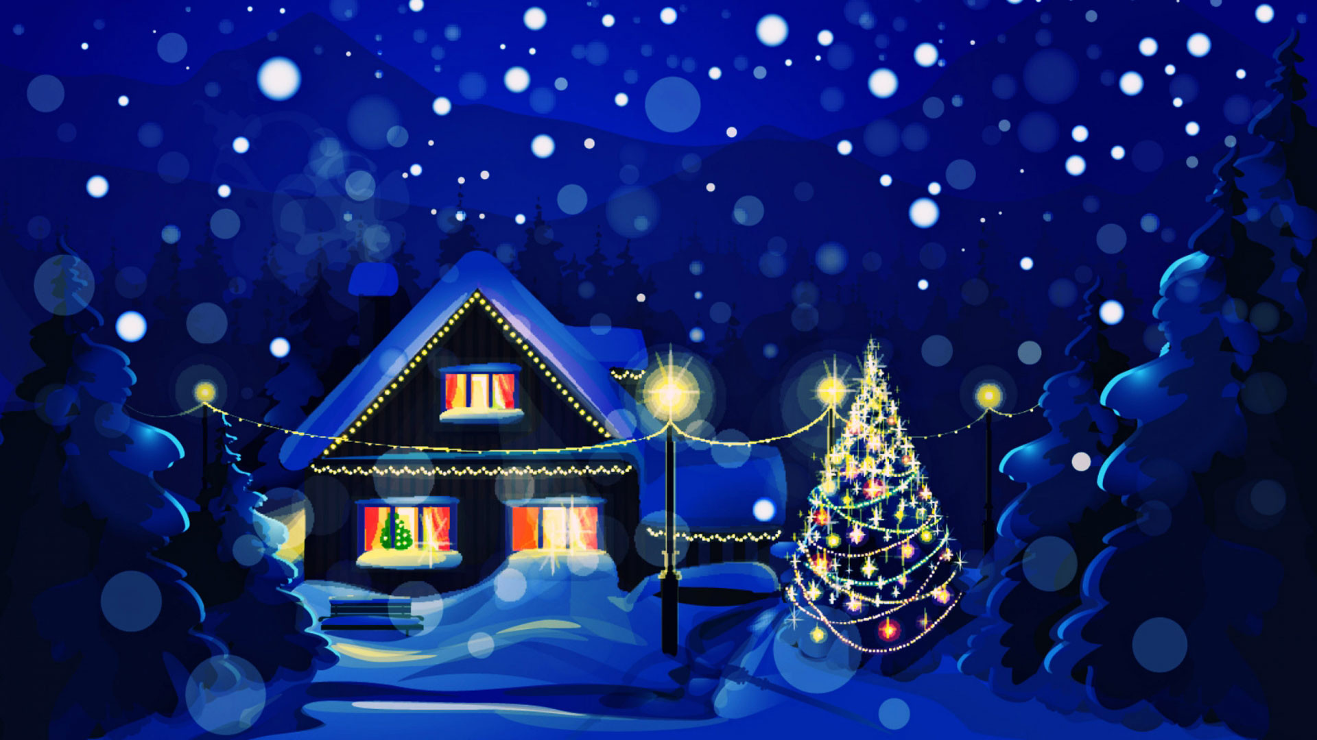 1920x1080 CHRISTMAS CHRISTMAS WINTER NIGHT BLUE DESKTOP BACKGROUND WALLPAPER .