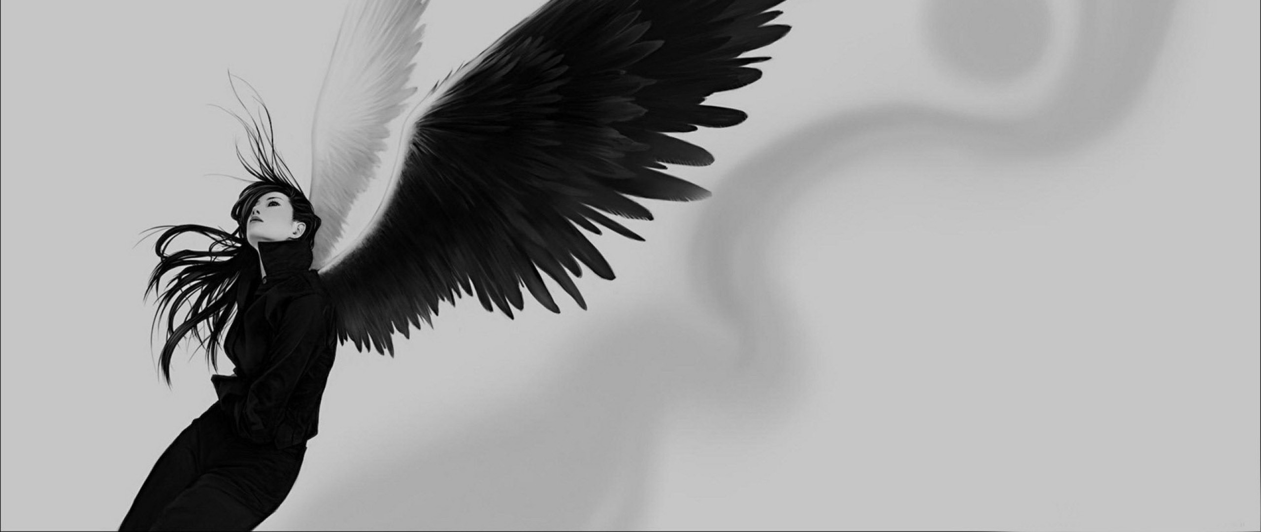 2560x1080  Wallpaper angel, wings, white, black, girl