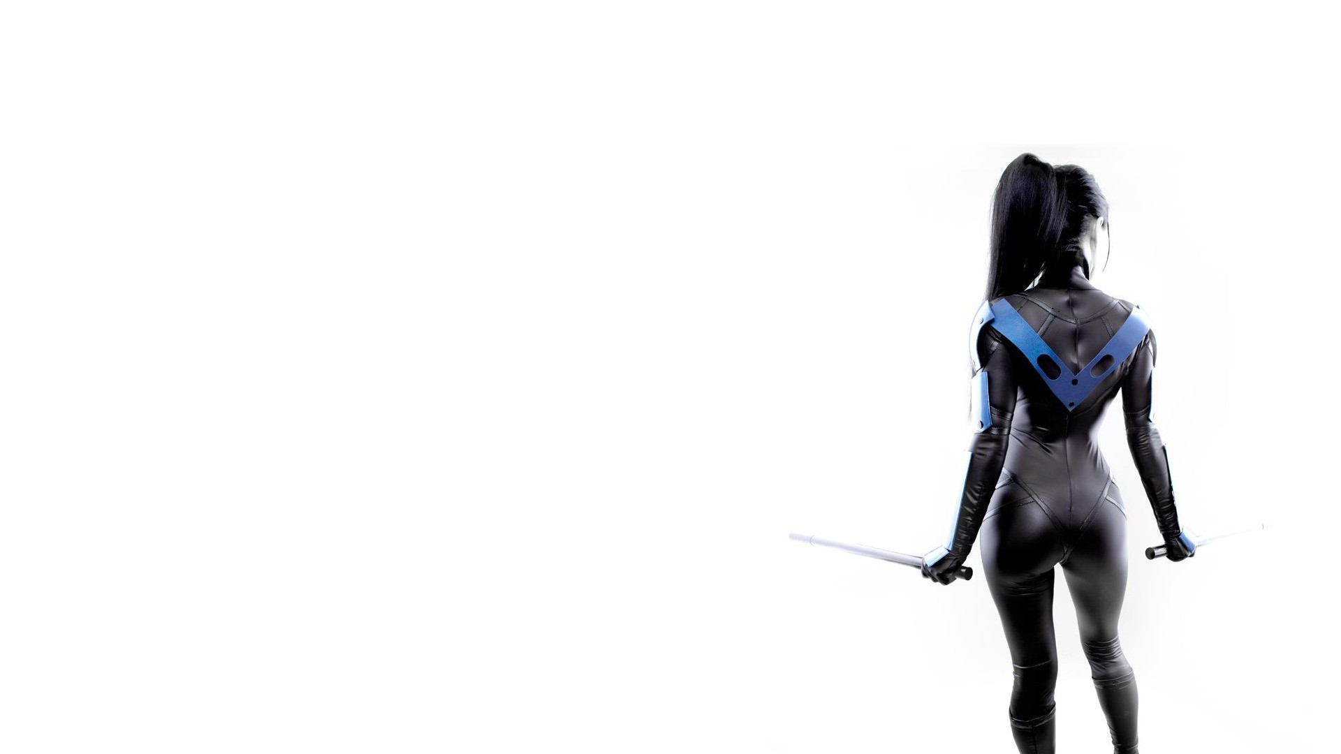1920x1080 White Brunette Nightwing Batman Sword Cosplay wallpaper