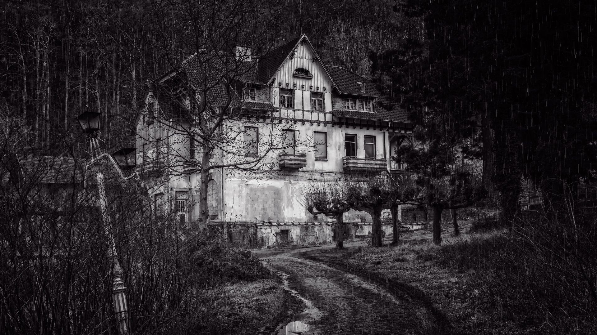 1920x1080 Black and White Haunted House HD Wallpaper