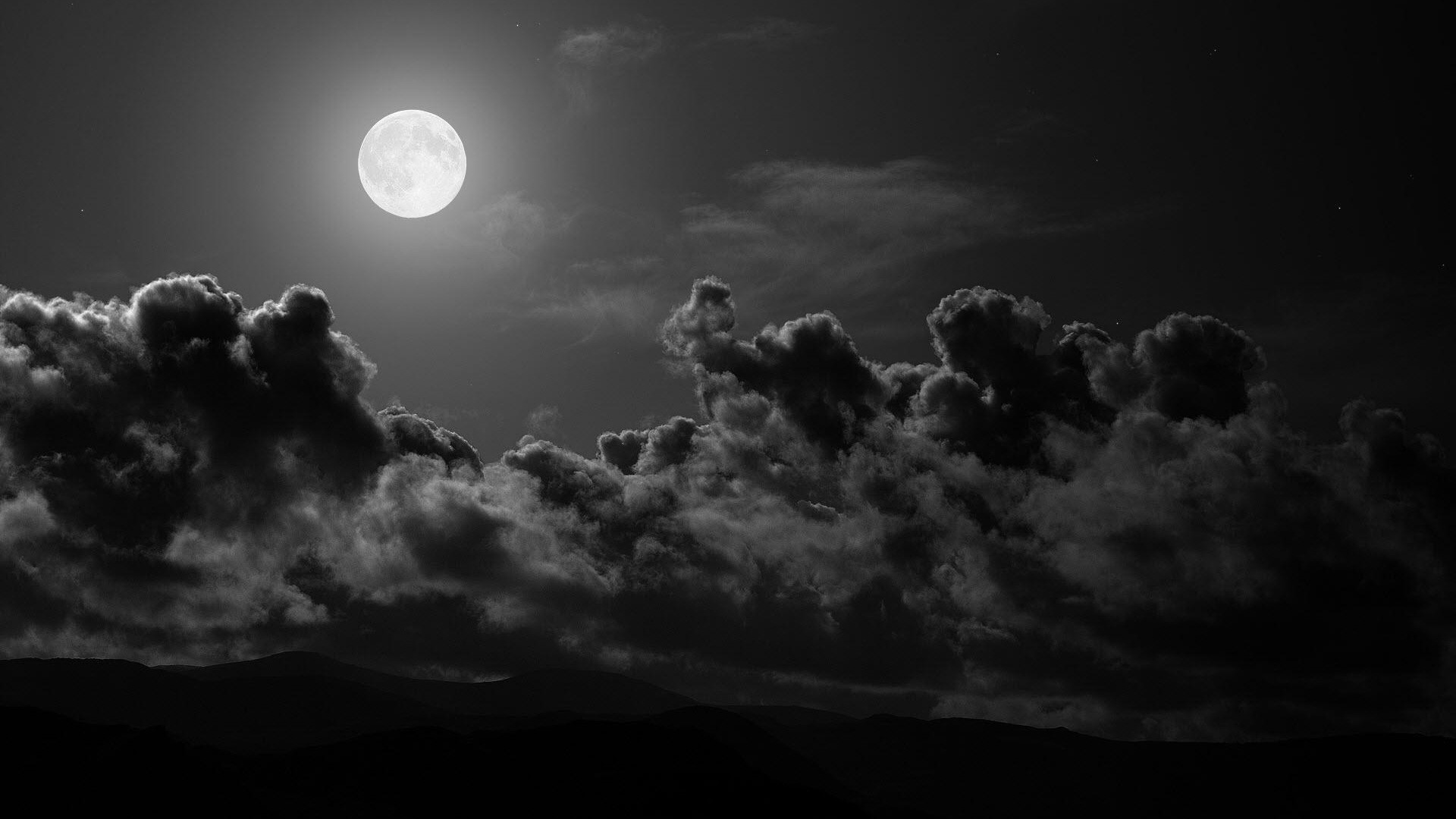 1920x1080 Preview wallpaper moon, clouds, sky, black-and-white