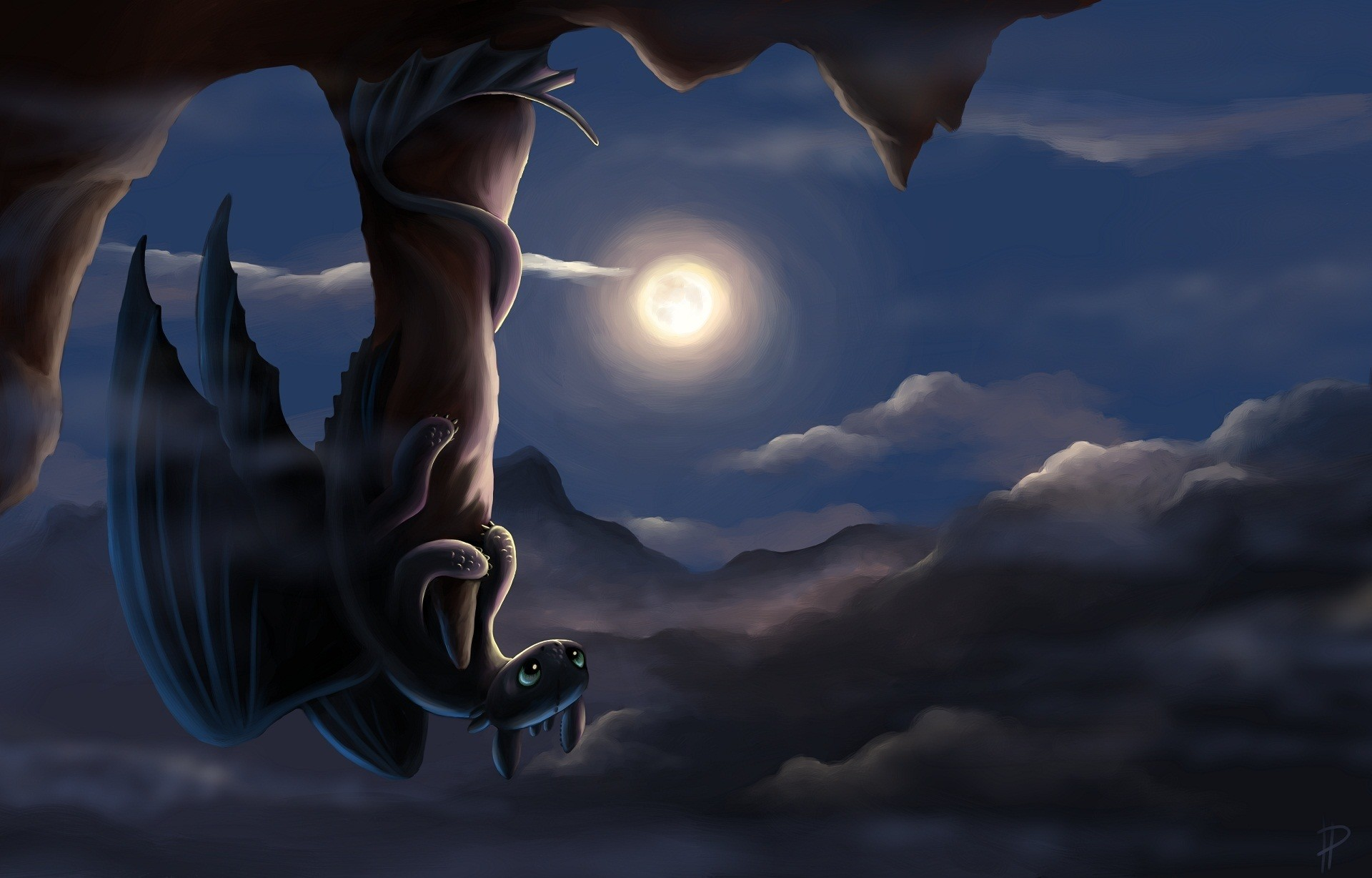 1920x1228 Picture How to Train Your Dragon Dragons Moon Night time