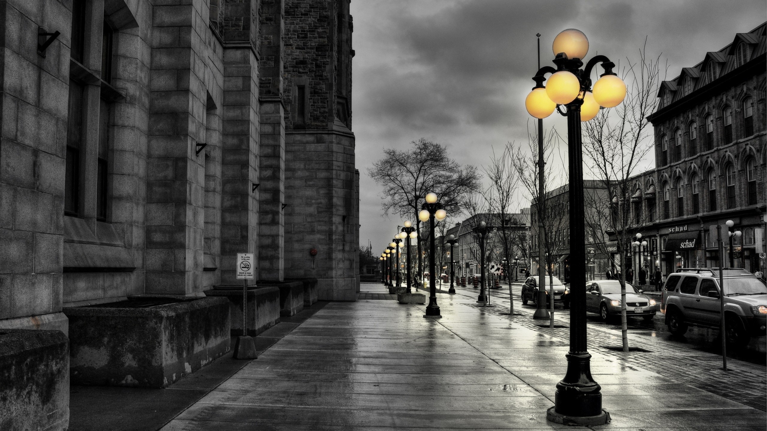 2560x1440 Preview wallpaper street, city, evening, black white, lights, buildings, hdr