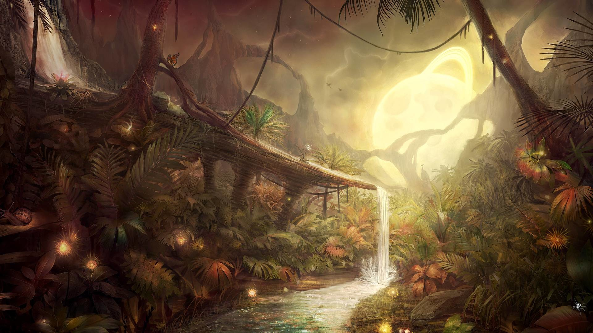 1920x1080 Small waterfall in the fantasy forest wallpaper, Small waterfall in the fantasy  forest Digital Art HD desktop wallpaper