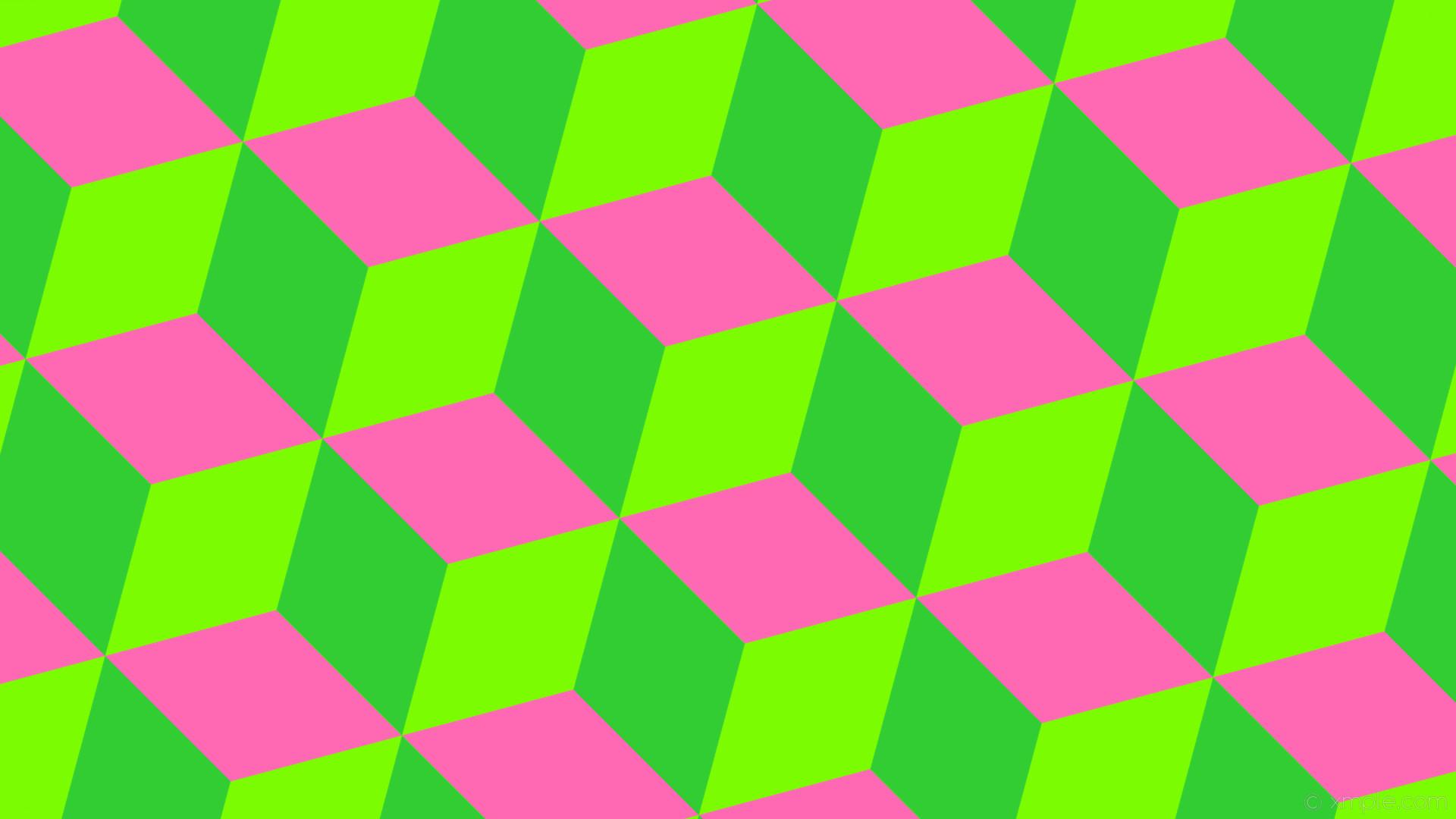 1920x1080 wallpaper 3d cubes green pink lawn green hot pink lime green  #7cfc00 #ff69b4