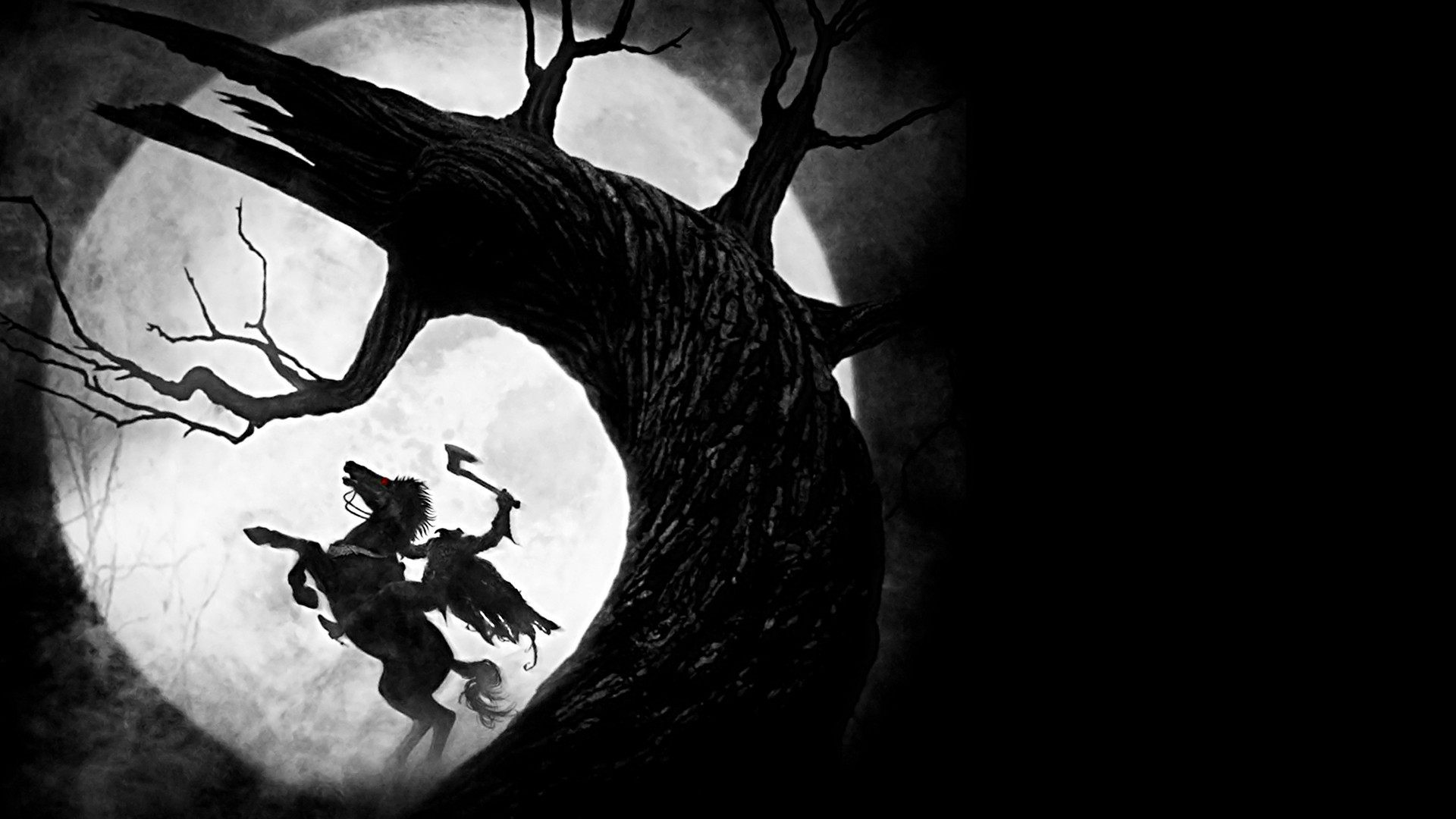 1920x1080 Wallpaper Sleepy hollow, Headless horseman, Moon, Tree