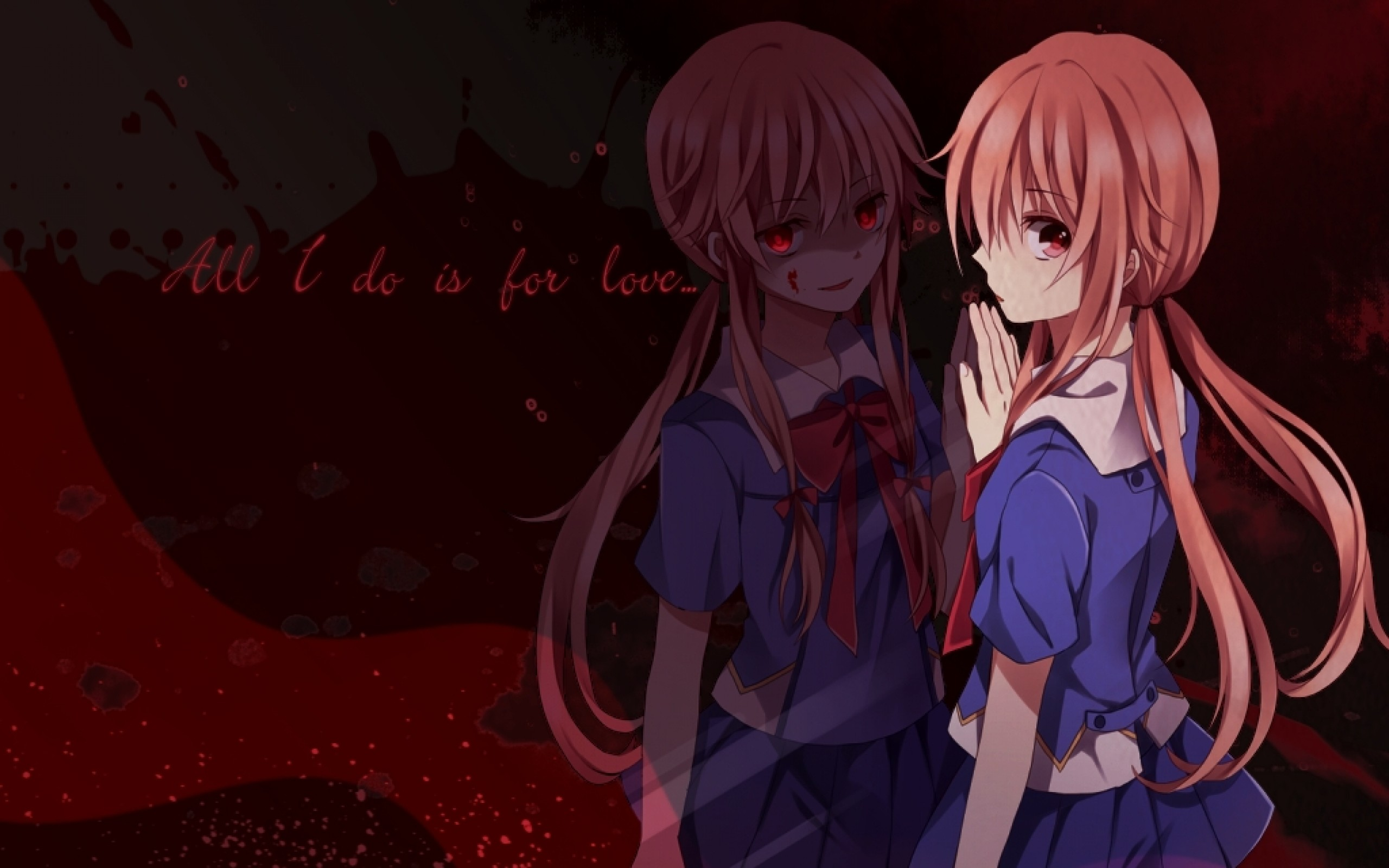 2560x1600 Creative Arts, Black, Manga, Art, Yuno Gasai Wallpaper in   Resolution