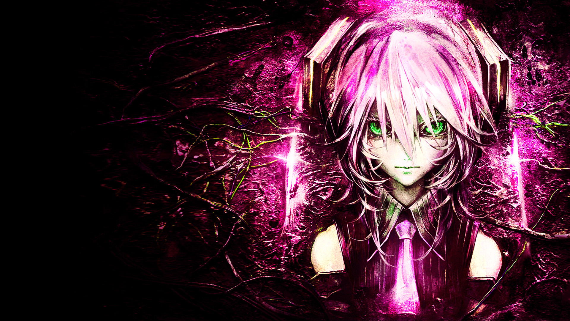 1920x1080 Bright Pink and Black Vocaloid Anime Background