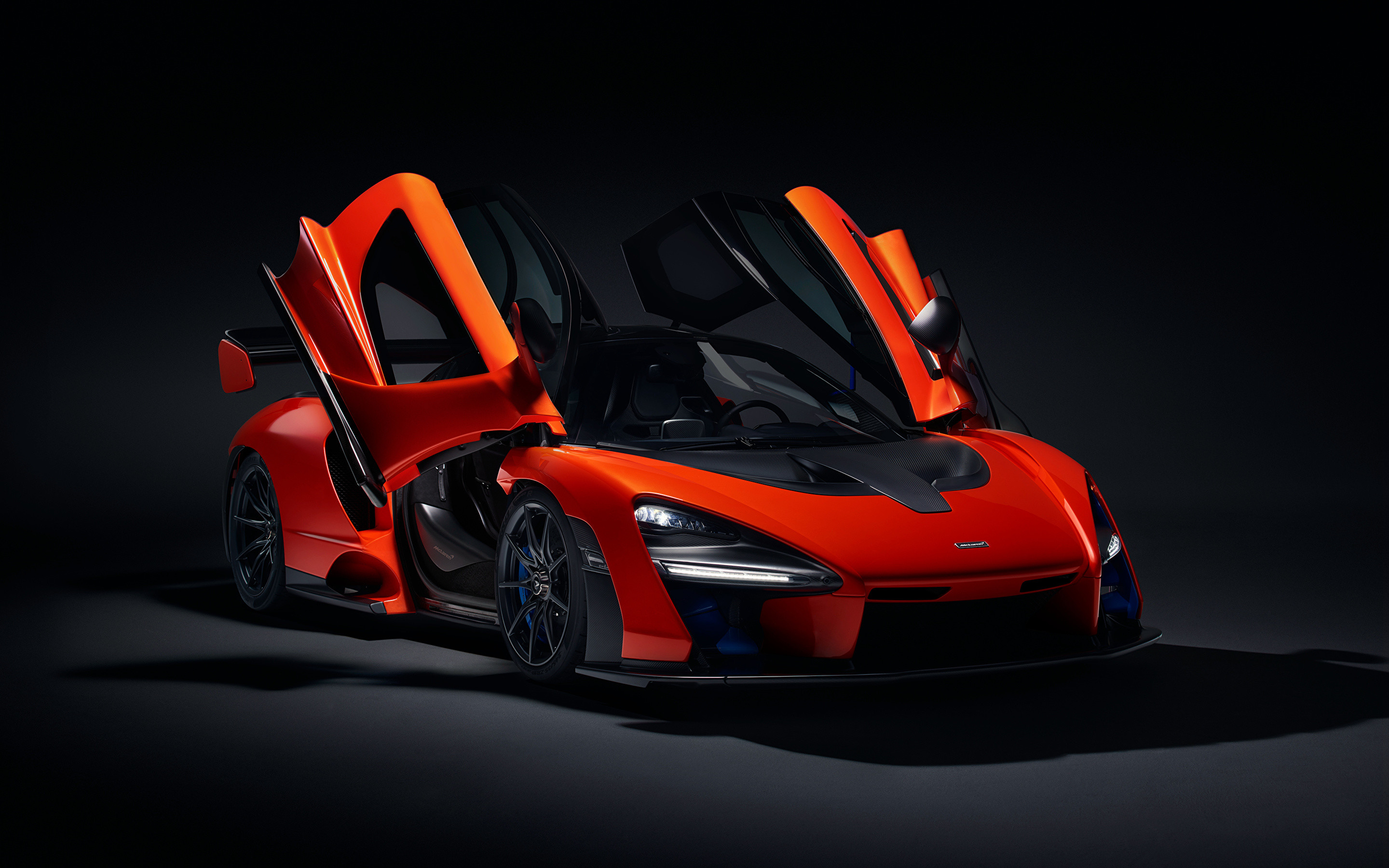 2880x1800 Image McLaren 2018 Senna (P15) Red Cars Black background  auto  automobile
