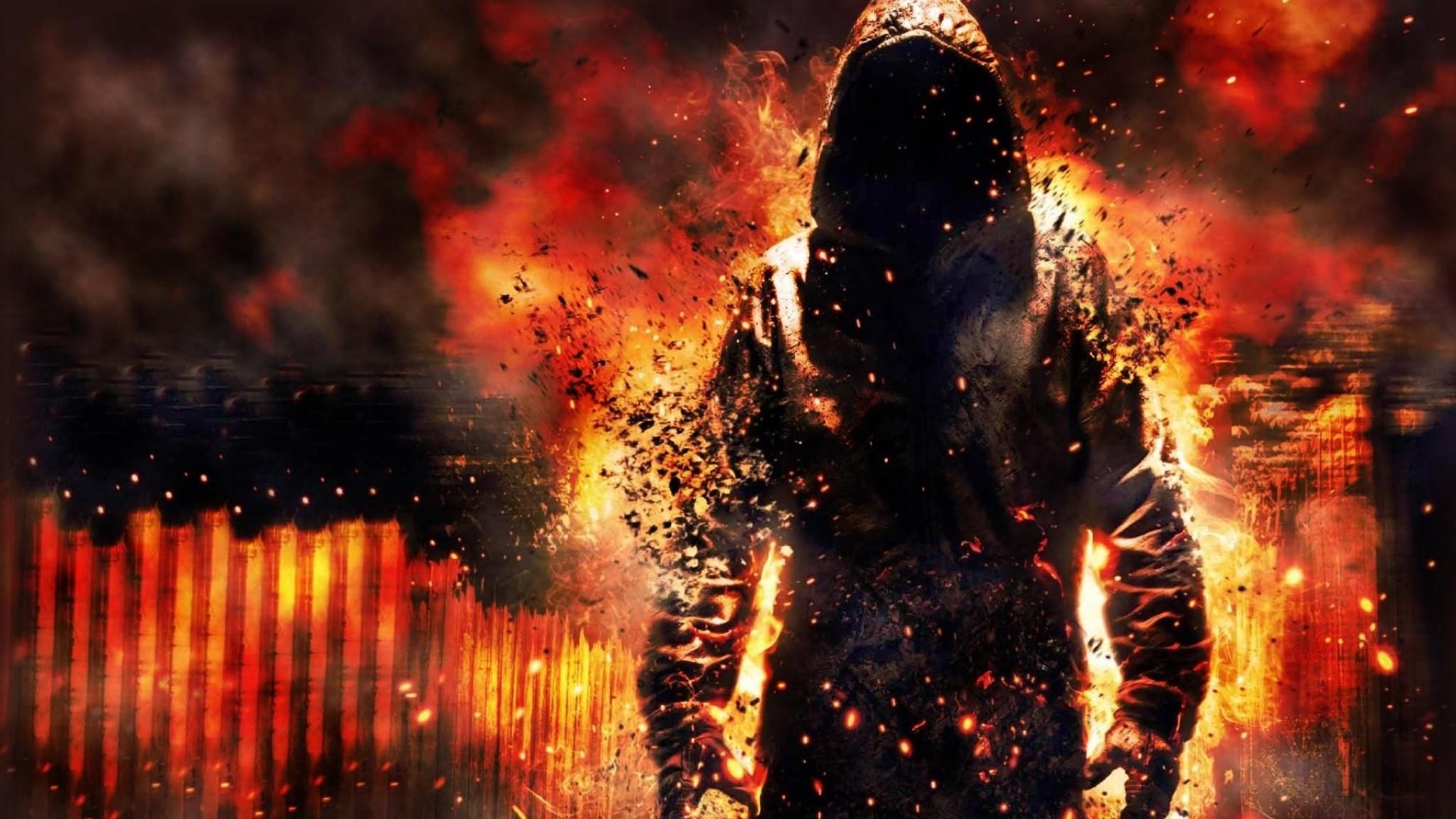 2048x1152 Preview Wallpaper Fire, Destruction, Debris, Cape, Biggin, Man  2048x1152
