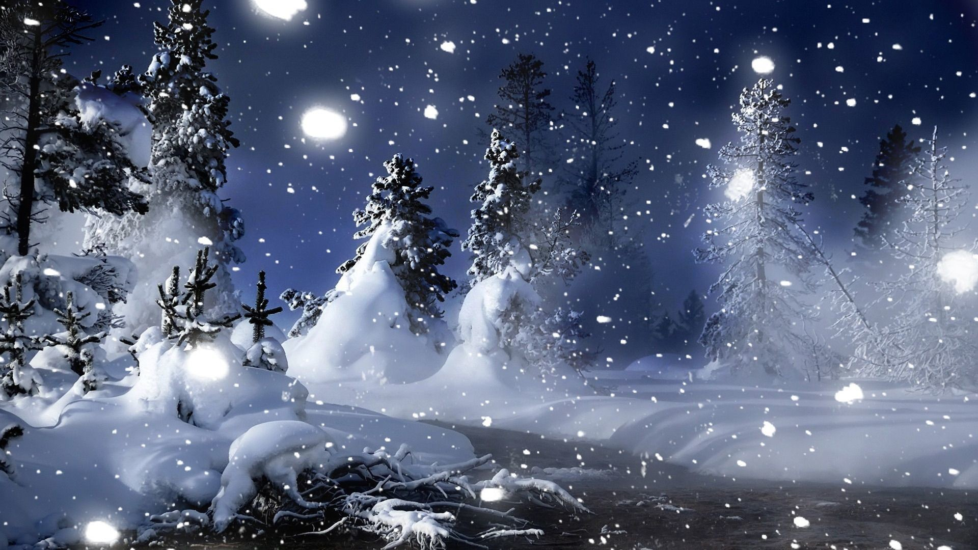 Snow At Night Wallpaper posted by Sarah Simpson