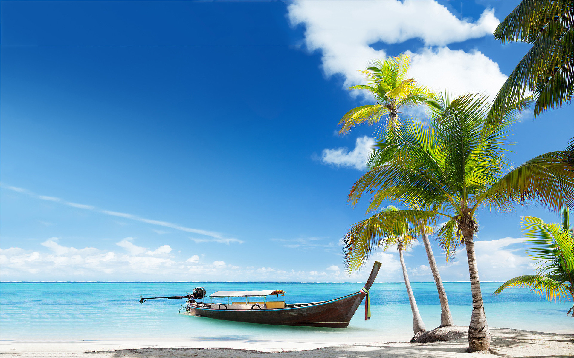 1920x1200 Free Beach Screensavers And Wallpapers Boat On Tropical Beach photos .