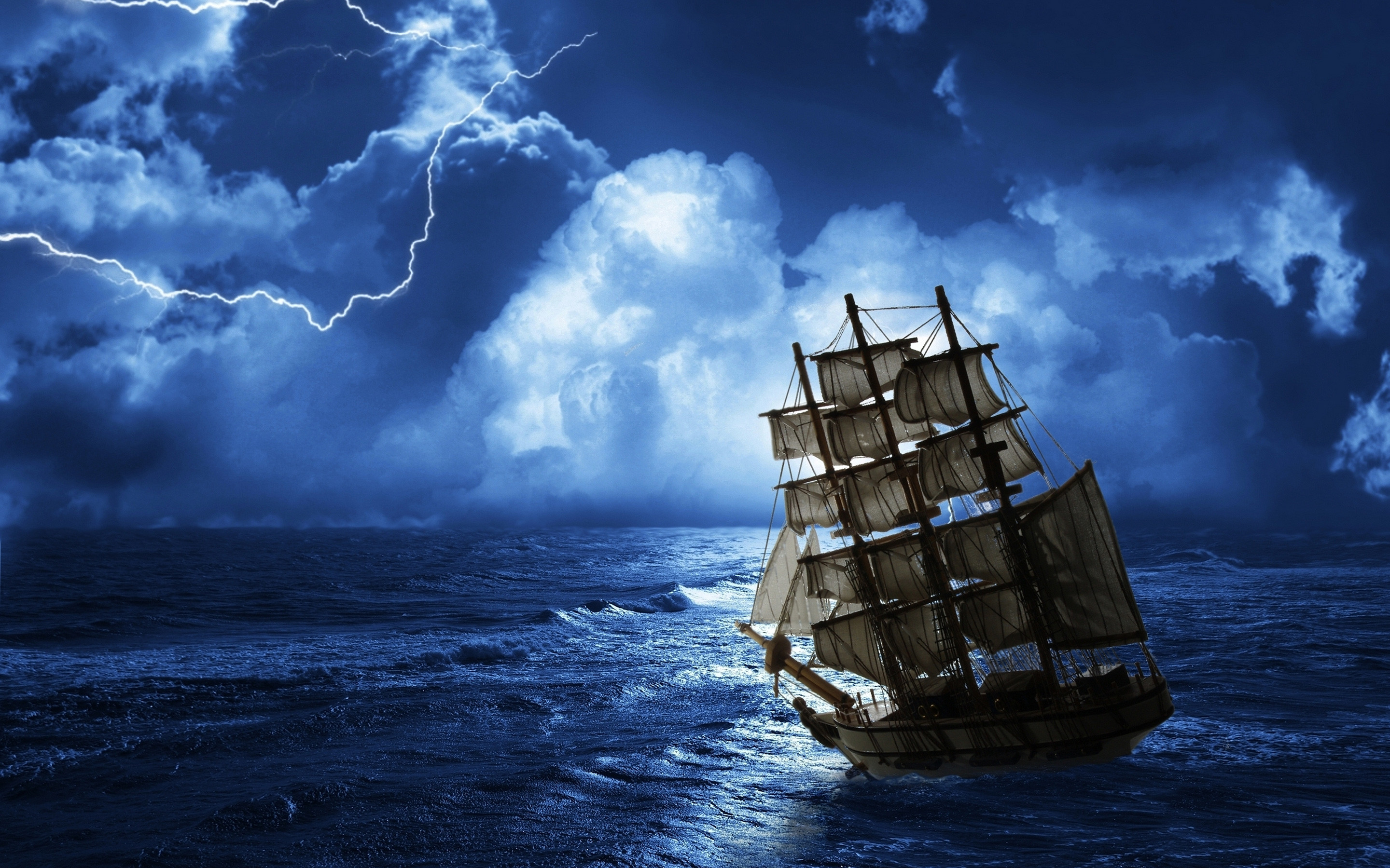 2880x1800 a ship at sea | Ghost ship row sea Wallpapers Pictures Photos Images