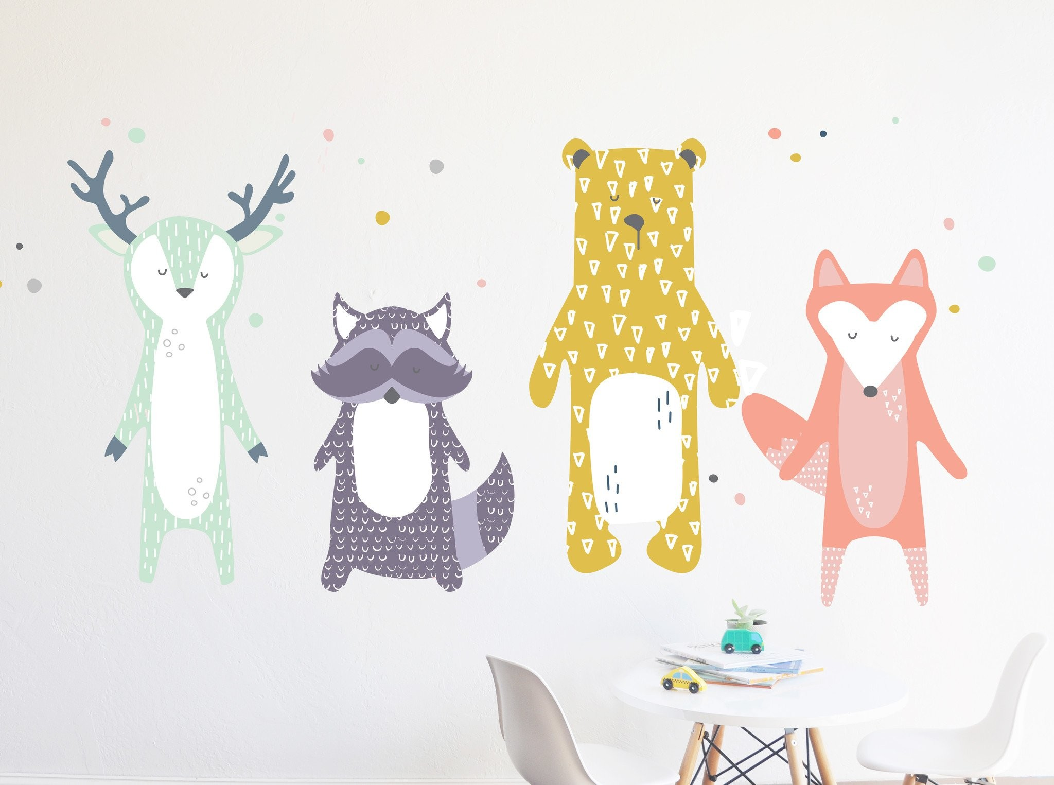 2048x1525 Front Facing Woodland Animals Pastels - Die Cut Decal - WALL DECAL