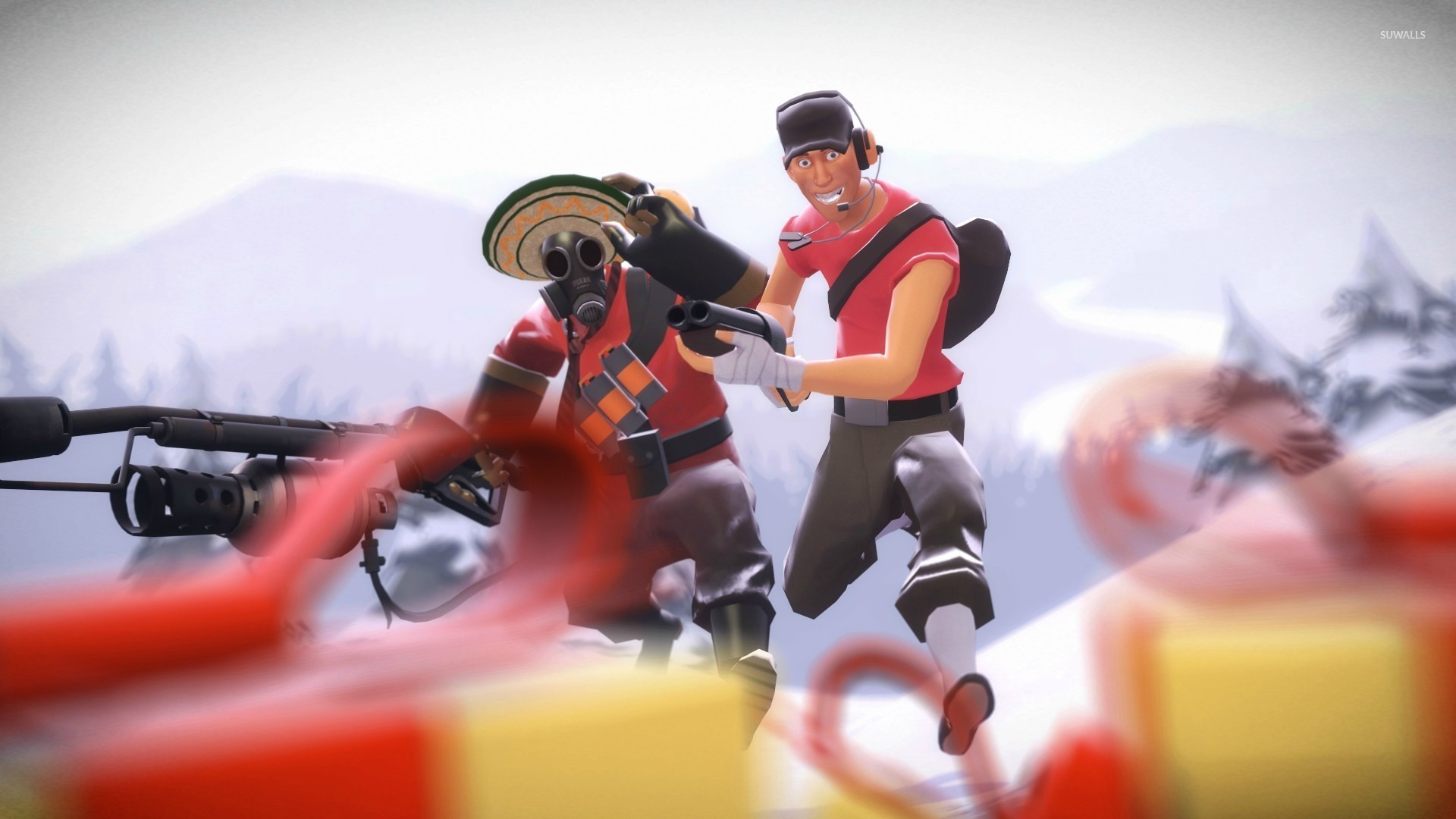 1920x1080 Pyro and Scout - Team Fortress 2 wallpaper  jpg