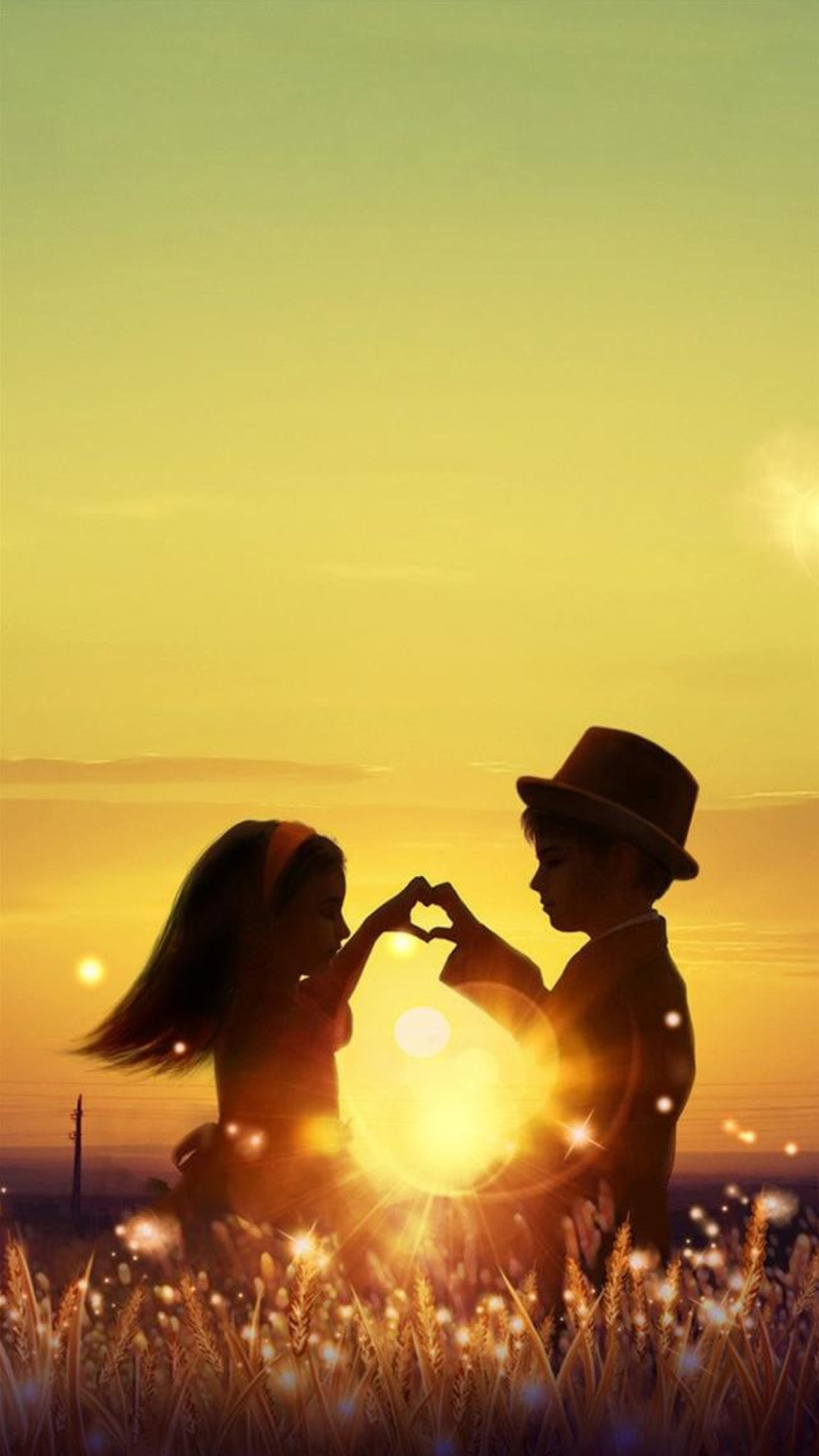 1080x1920 Sunset Love Cute Kids Couple Sunlight Flowers Field iPhone 8 wallpaper