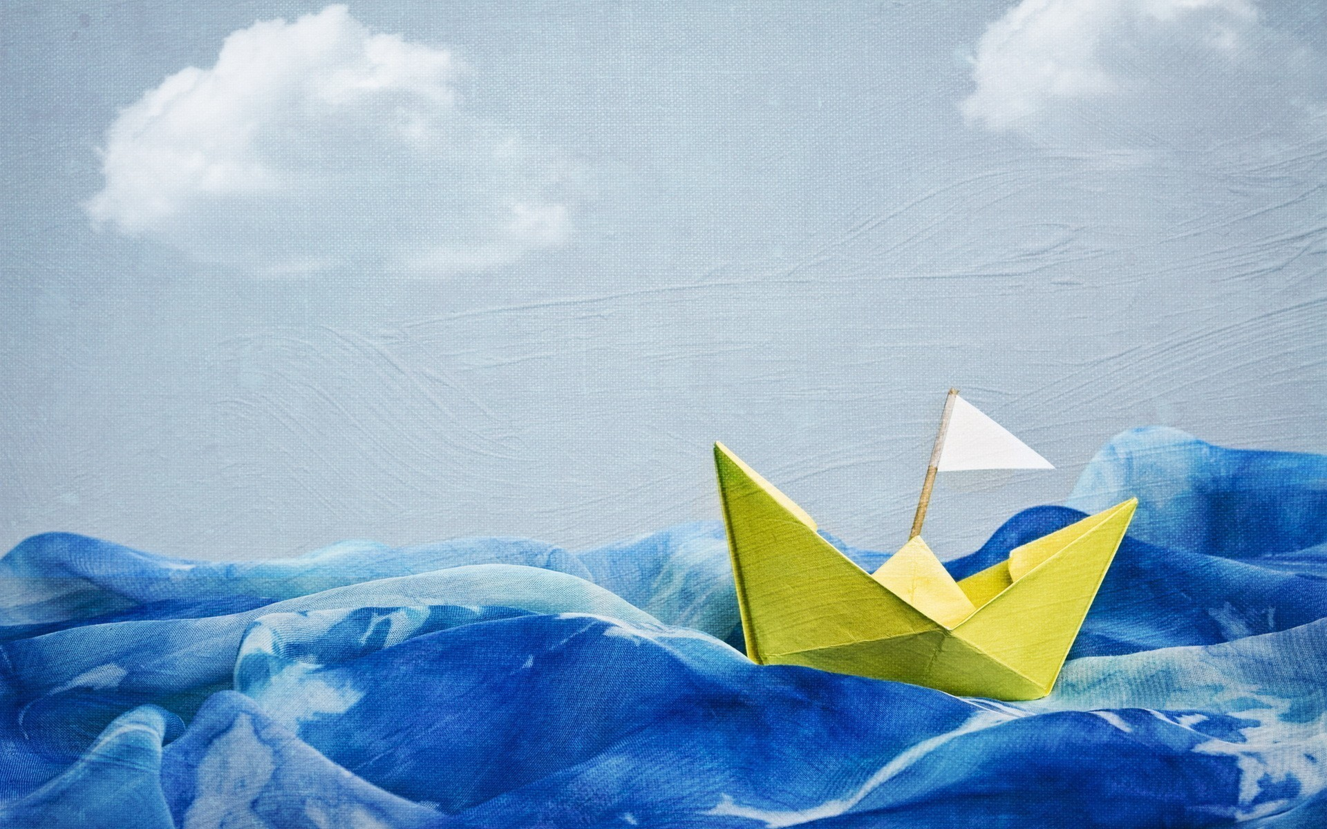 1920x1200 Artwork blue skies boats paintings paper boat wallpaper