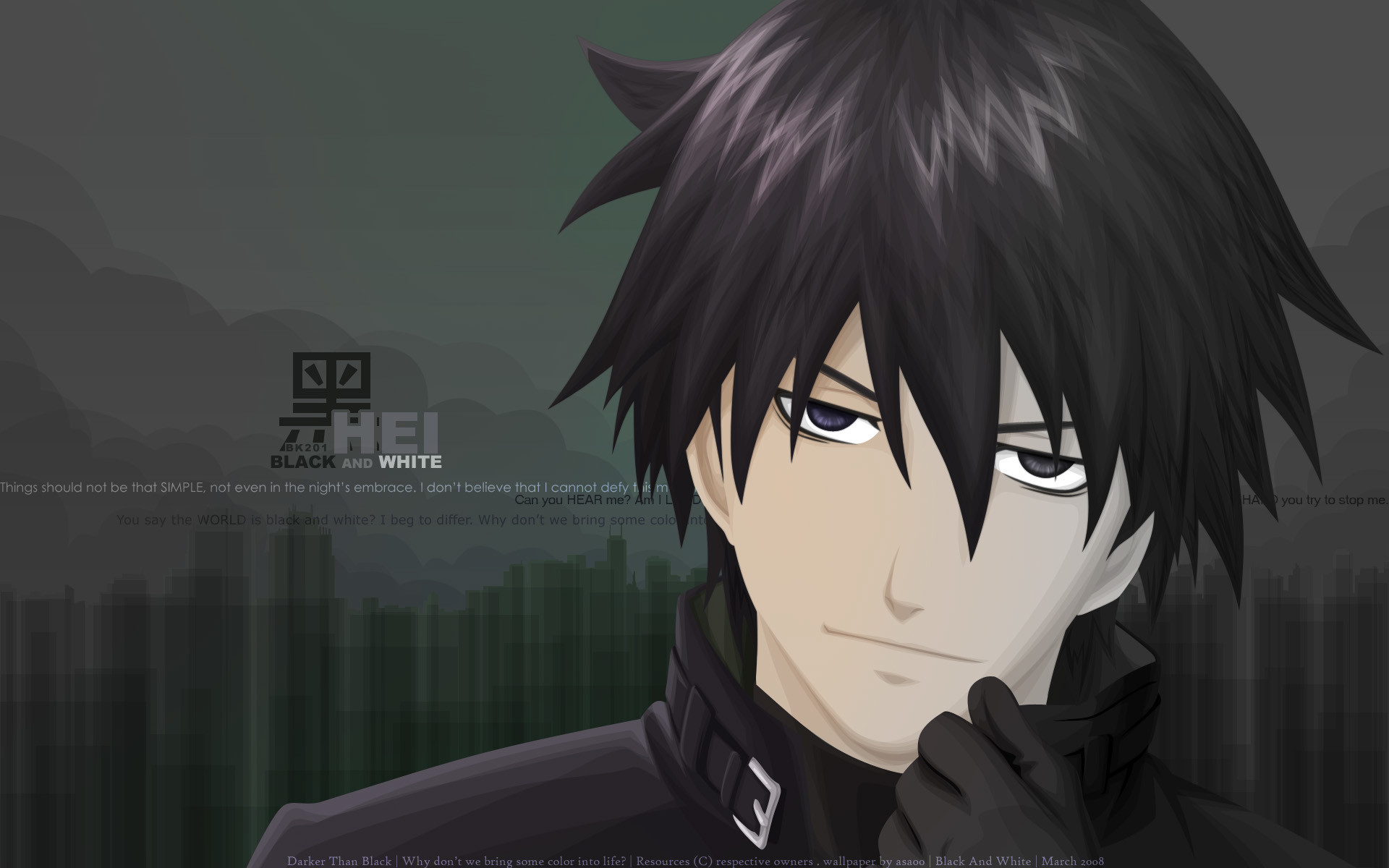1920x1200 Anime - Darker Than Black Hei (Darker than Black) Wallpaper