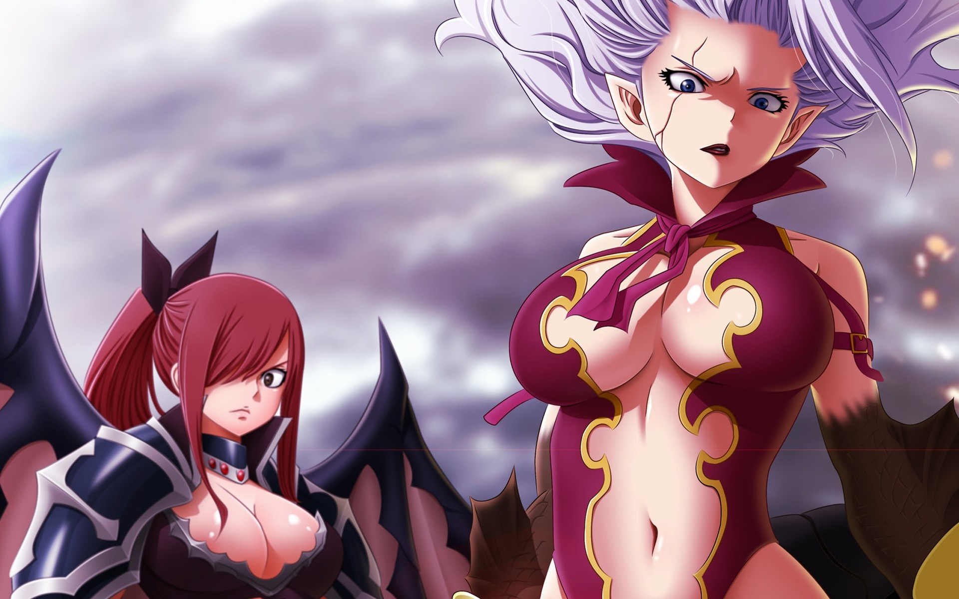 1920x1200 Erza and Mirajane, Wallpaper of Erza Scarlet and Demon Mirajane Strauss