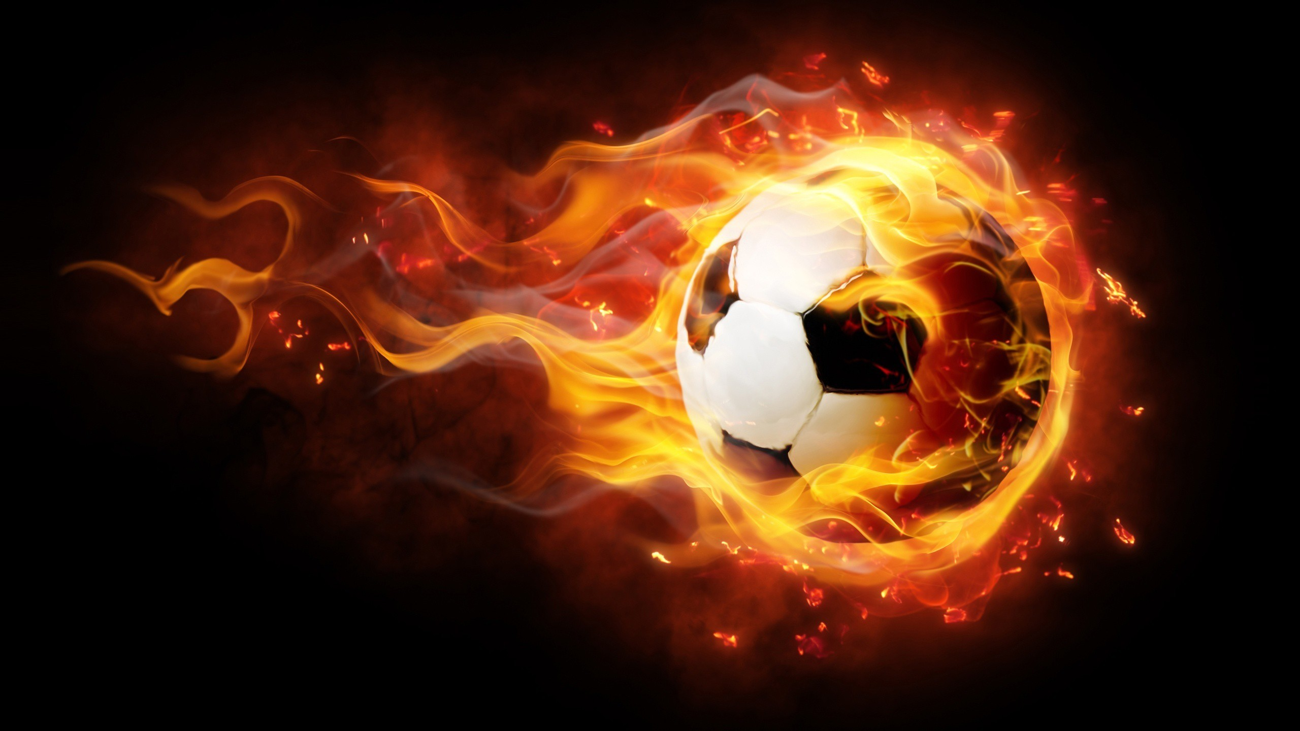 2560x1440 Soccer Fire Ball Desktop Background wallpaper