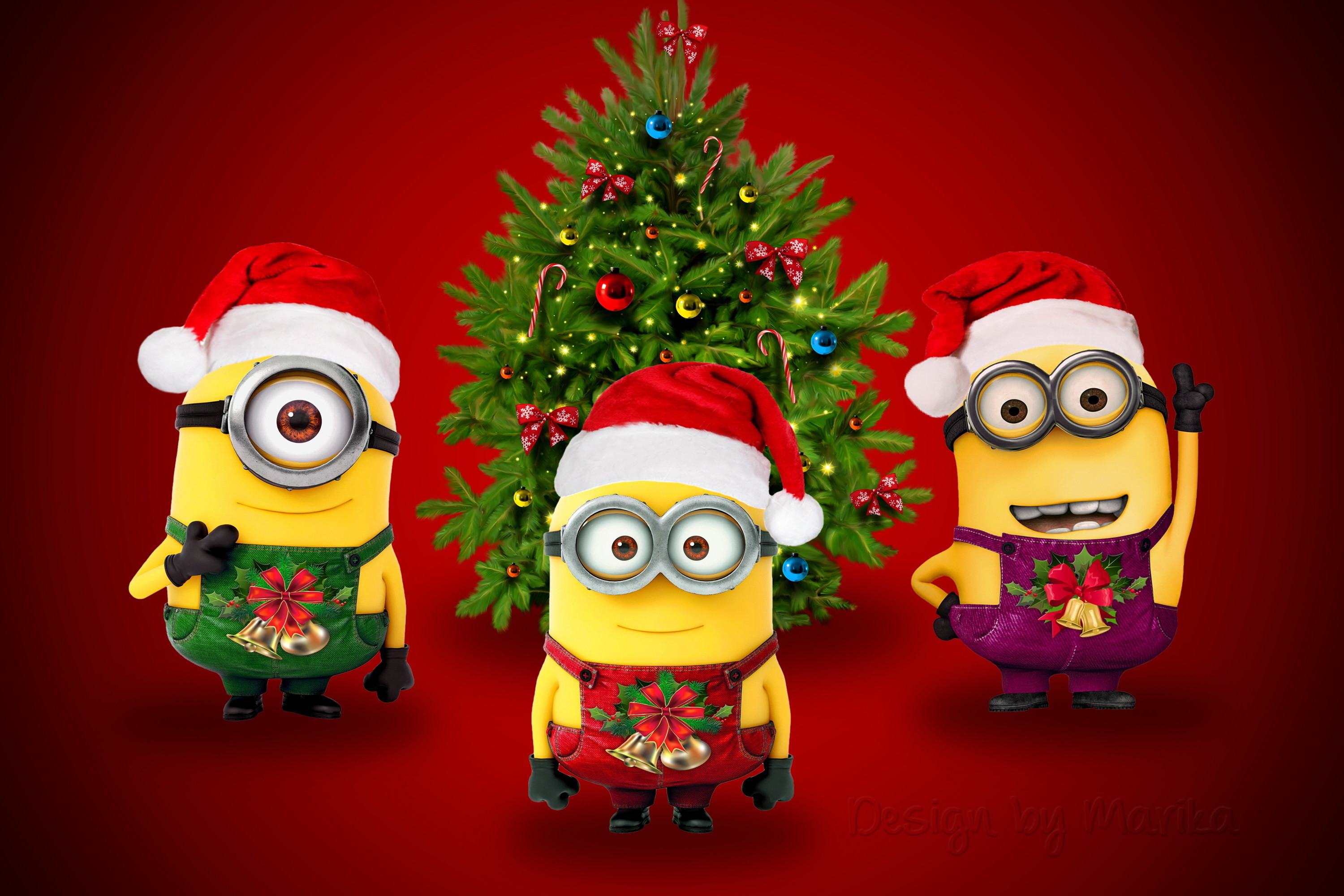 3000x2000 Minions Christmas Desktop Wallpapers