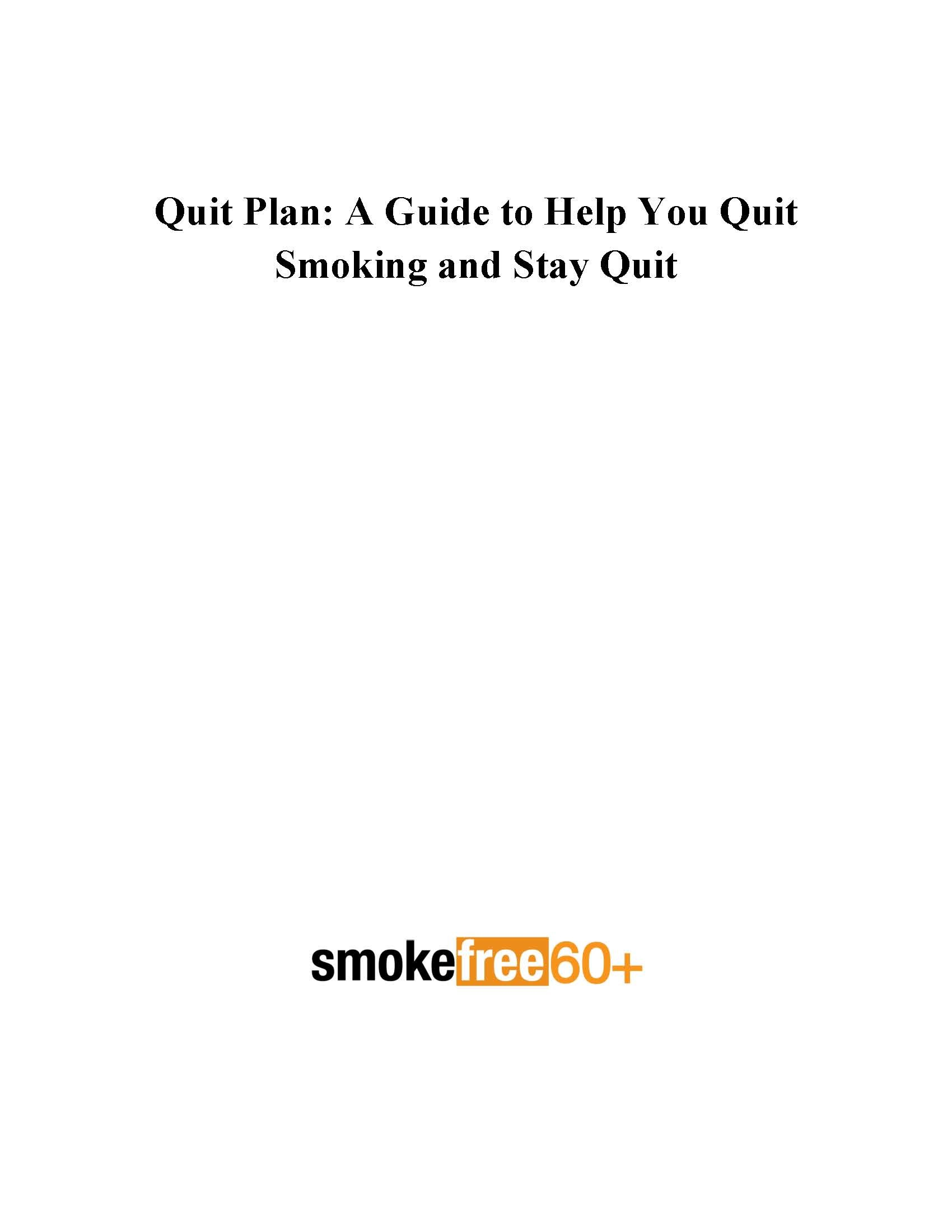 1700x2200 Cover page of Smokefree 60+ quit plan.