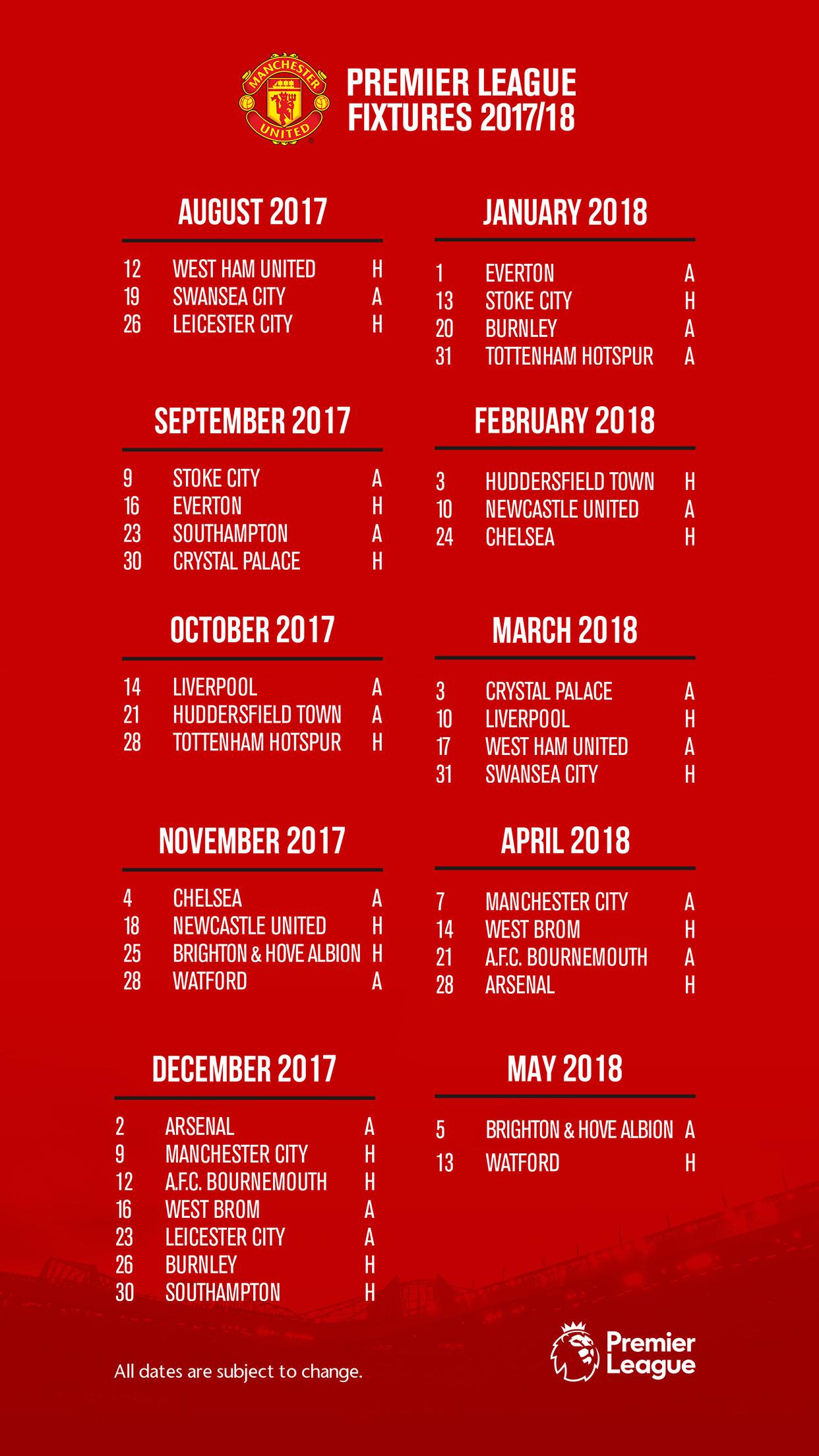 Man U Fixtures