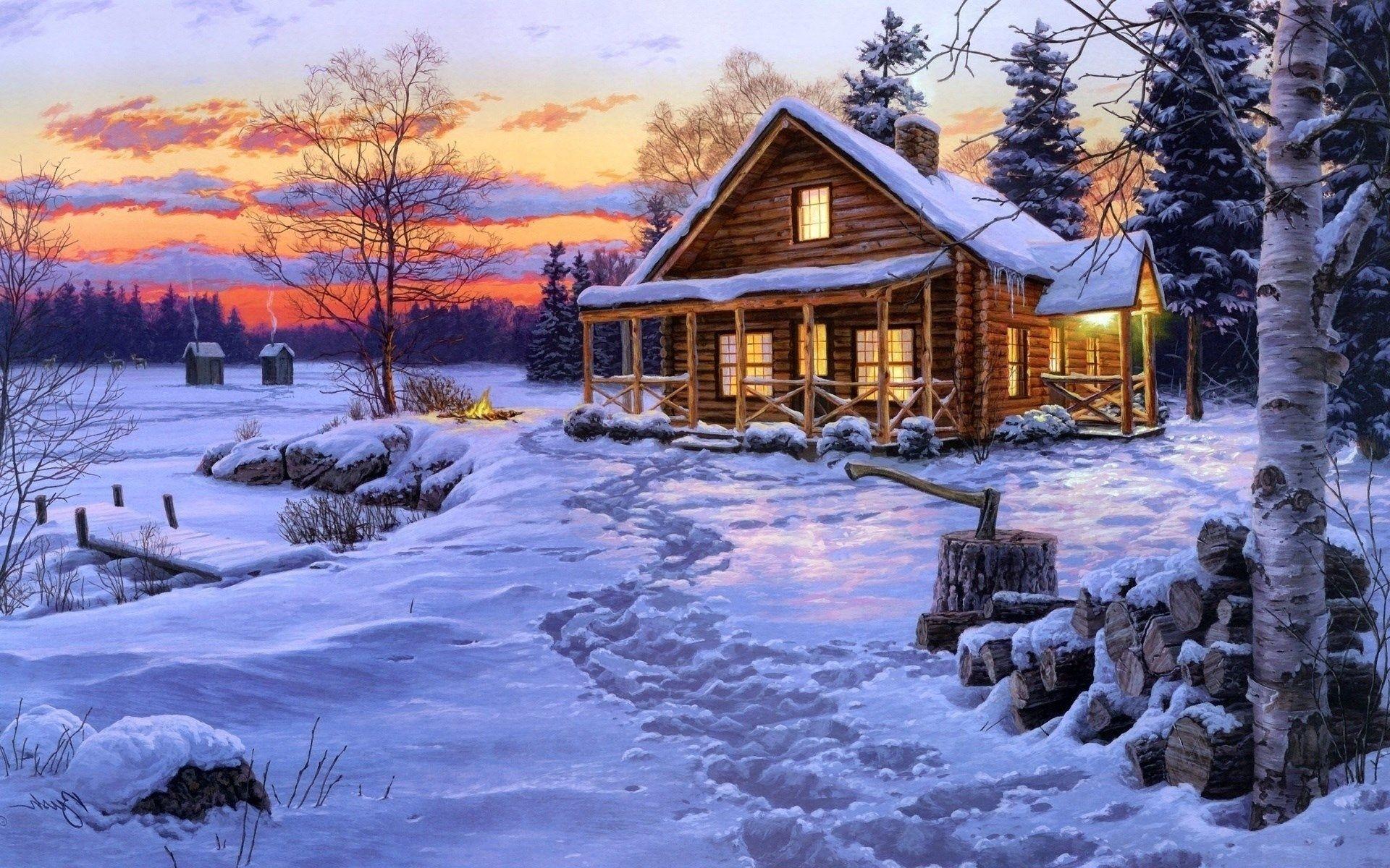 Winter Cabin Wallpaper (72+ images)