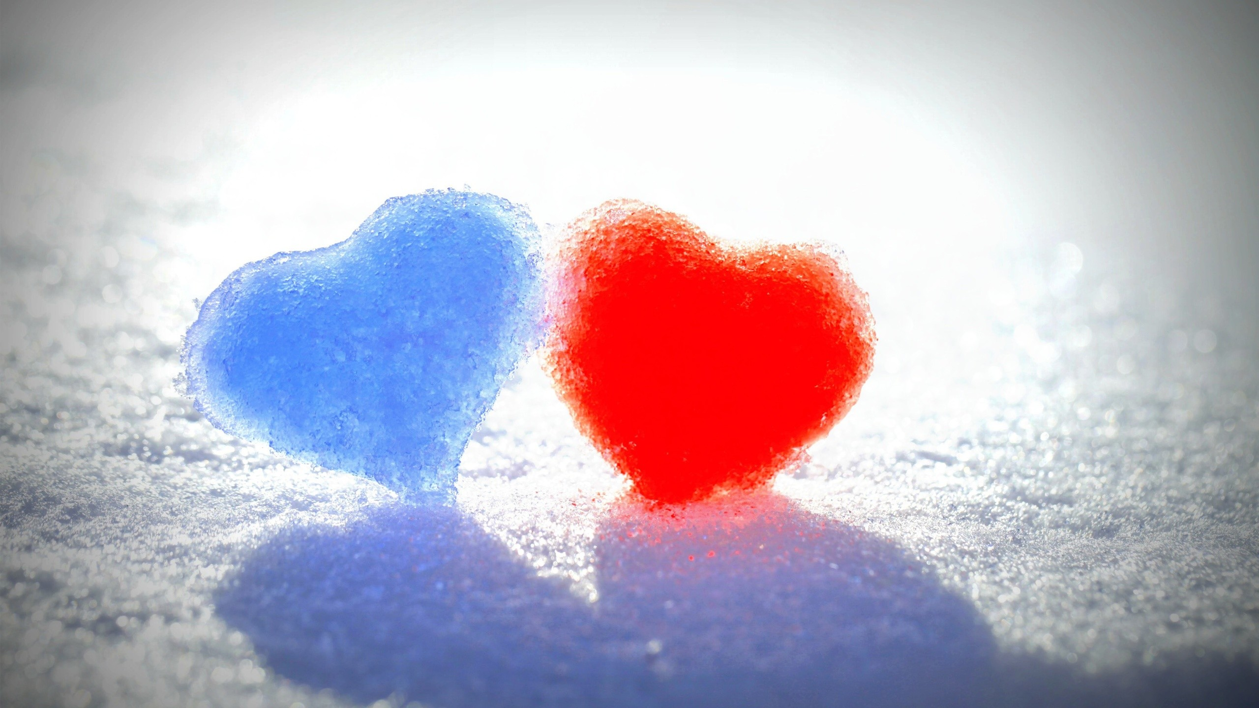 2560x1440 Blue Red Snow Hearts Wallpapers