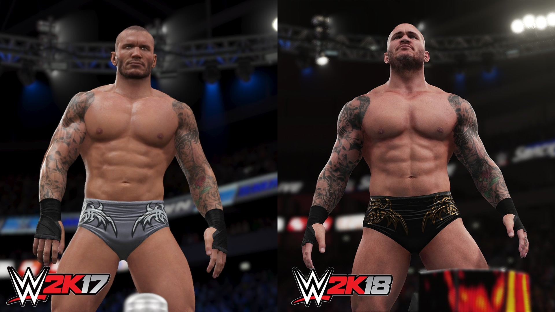 1920x1080 WWE 2K18 comparison screenshots today featuring Randy Orton, Brock Lesnar  and cover athlete Seth Rollins. They also posted some WWE 2K18 video  footage, ...