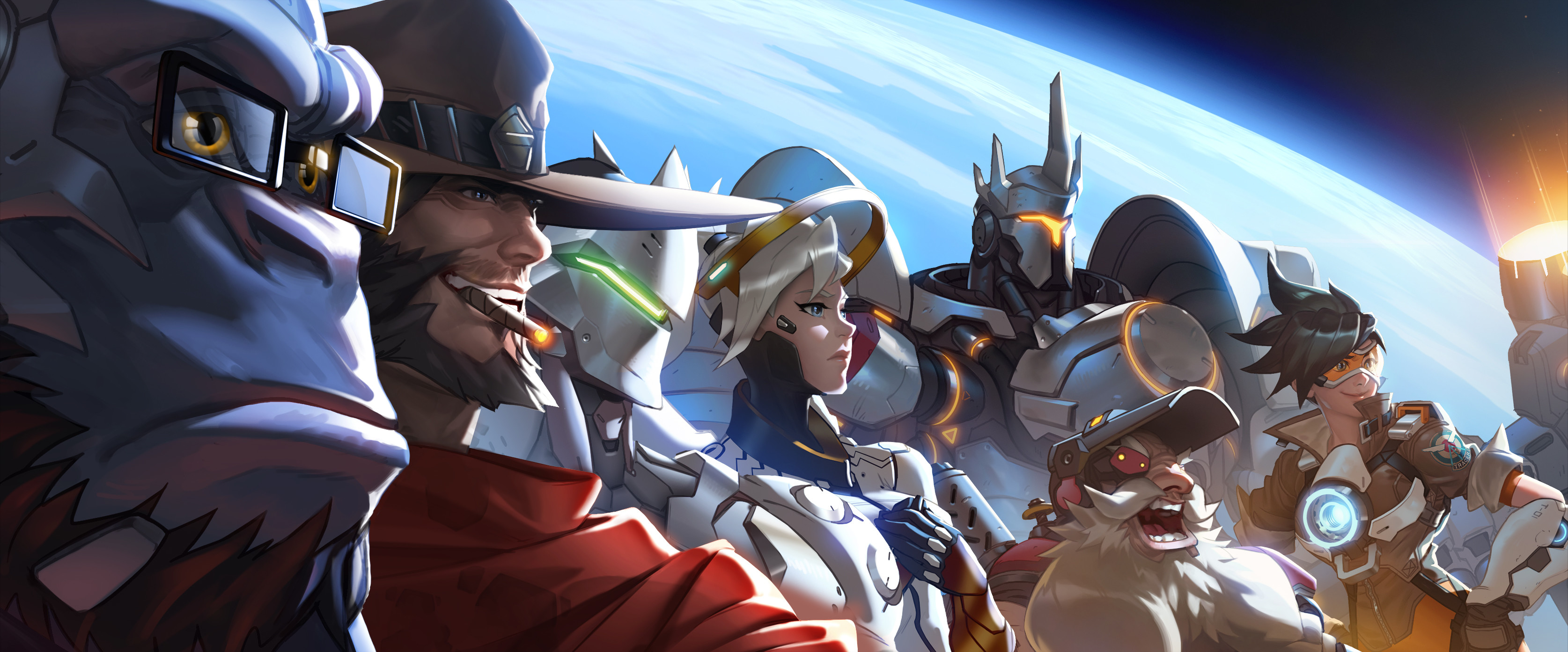 3349x1394 Video Game - Overwatch Winston (Overwatch) McCree (Overwatch) Mercy ( Overwatch)