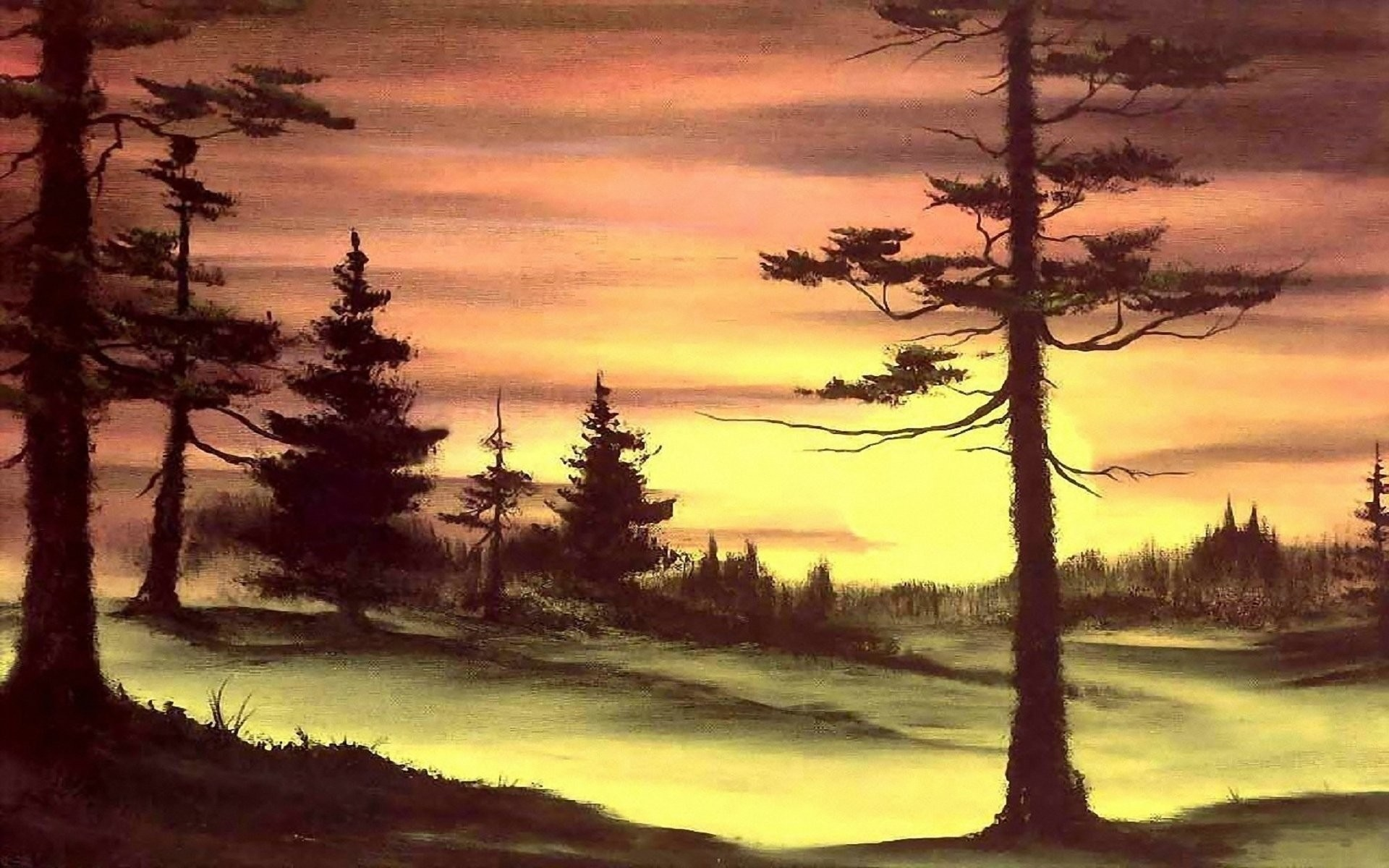 Росс деревья рисовать