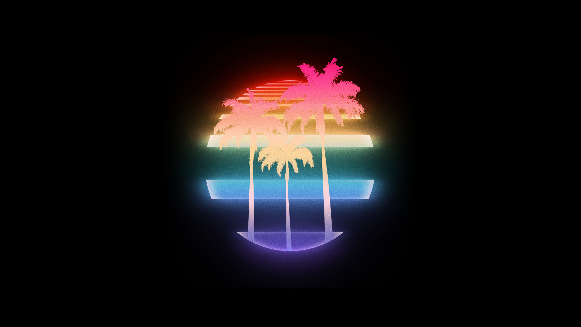 1920x1080 VHS, Palm trees, 1980s, New Retro Wave, Retro style, Vintage,