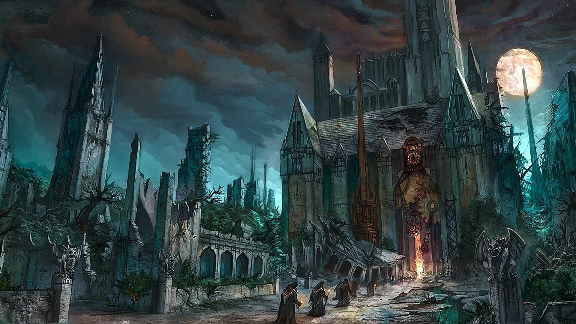 1920x1080 Dark Fantasy Horror Gothic Art Monk Cathedral Church Wallpaper .