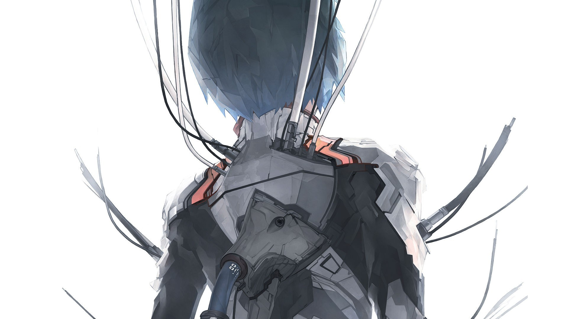 1920x1080 Neon Genesis Evangelion, Ayanami Rei, Wires, Solo, Simple Background  wallpaper thumb