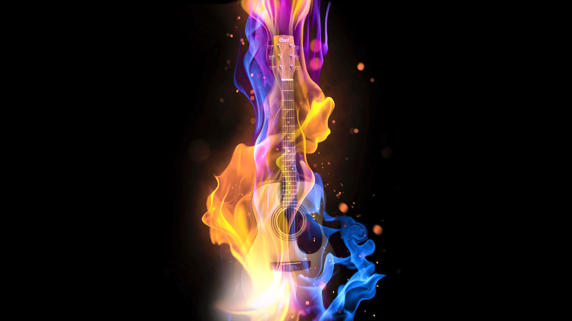 1920x1080 ... music, abstract, guitar, fire, digital art, particle, hd, wallpaper