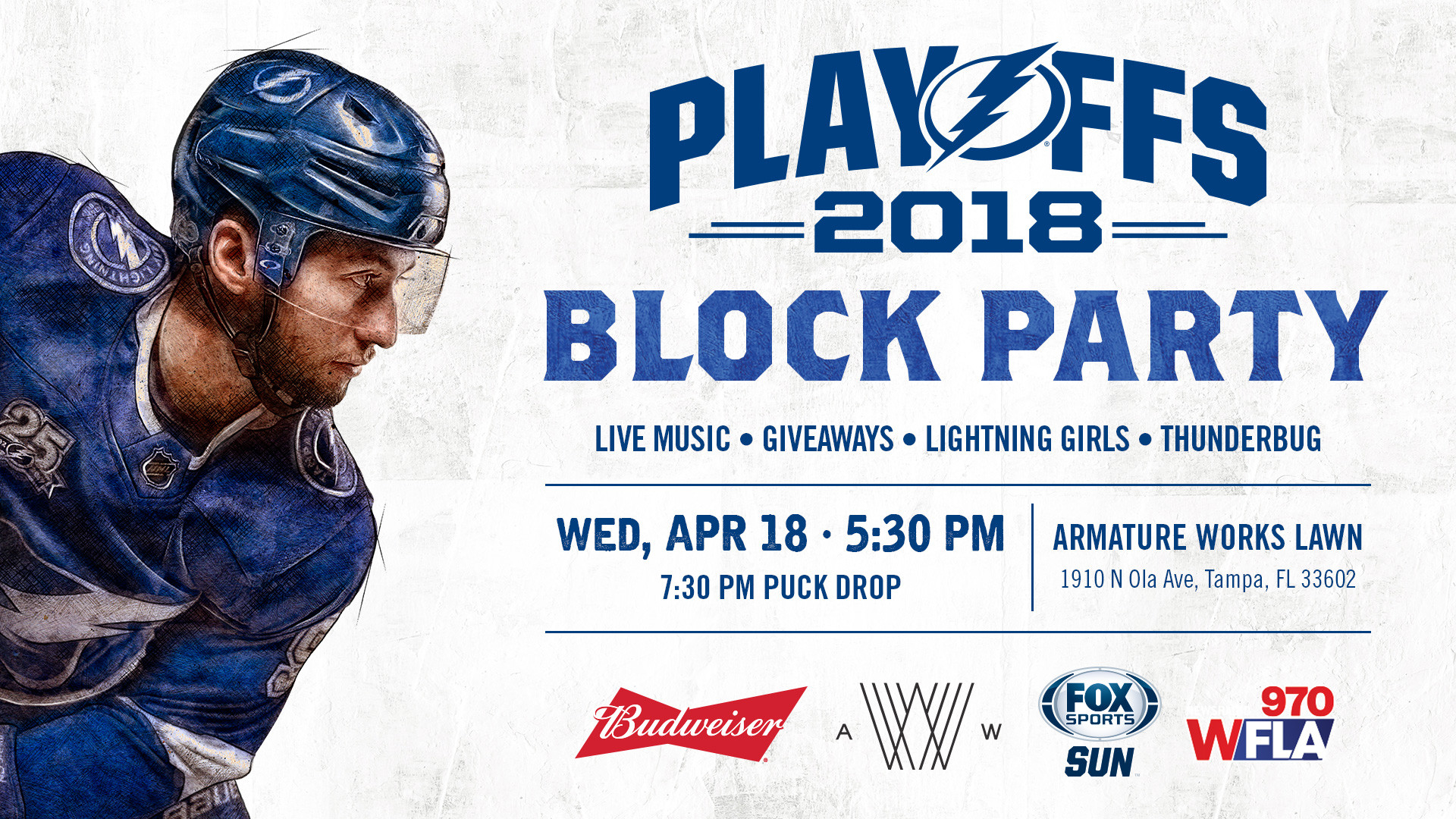 1920x1080 Join us for a Block Party on the Armature Works Lawn as the Tampa Bay  Lightning battle the New Jersey Devils in the first round of the NHL  Playoffs.