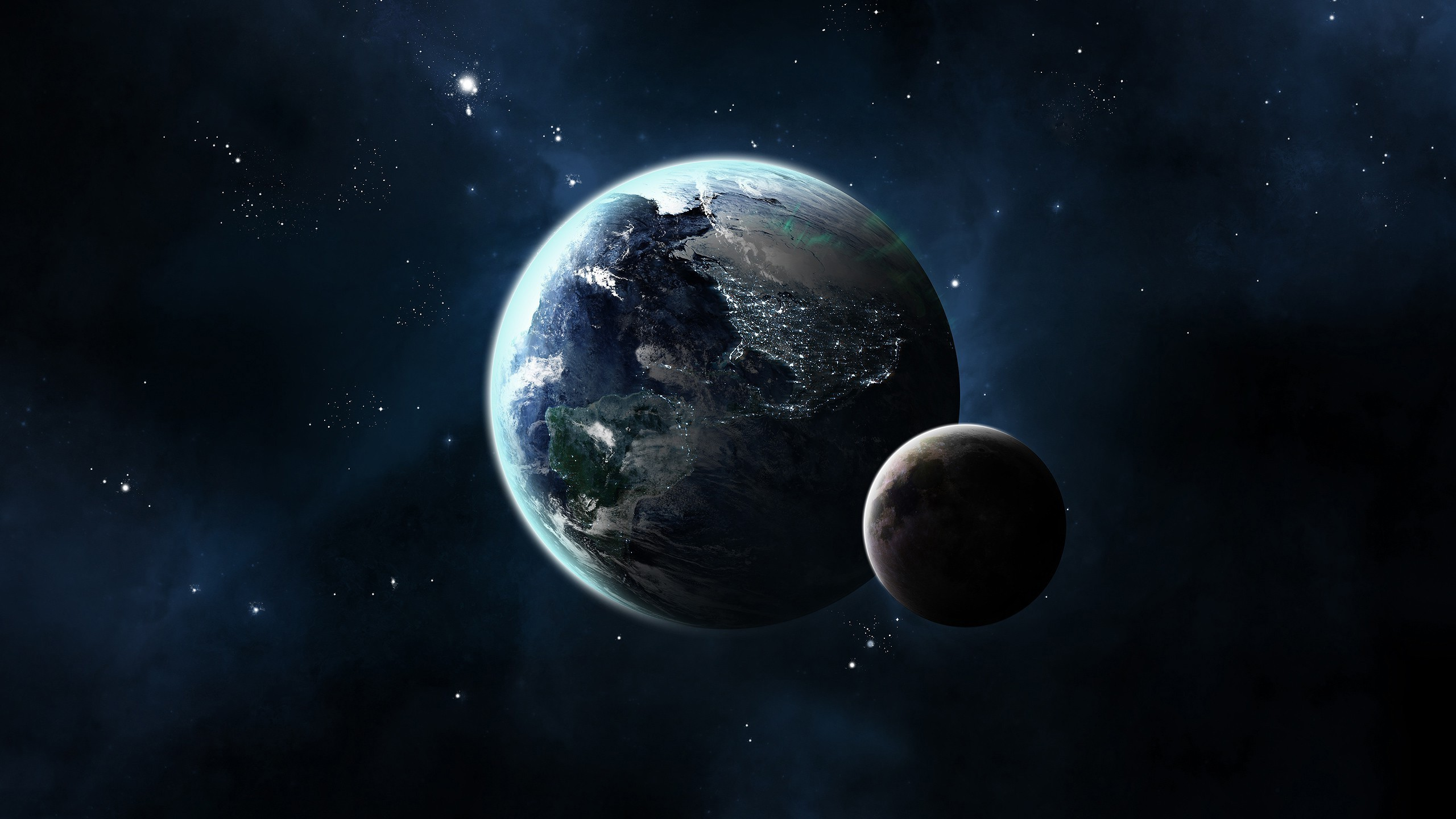 2560x1440 CG Render, Space, Planet, Moon, Stars, Earth Wallpapers HD / Desktop and  Mobile Backgrounds