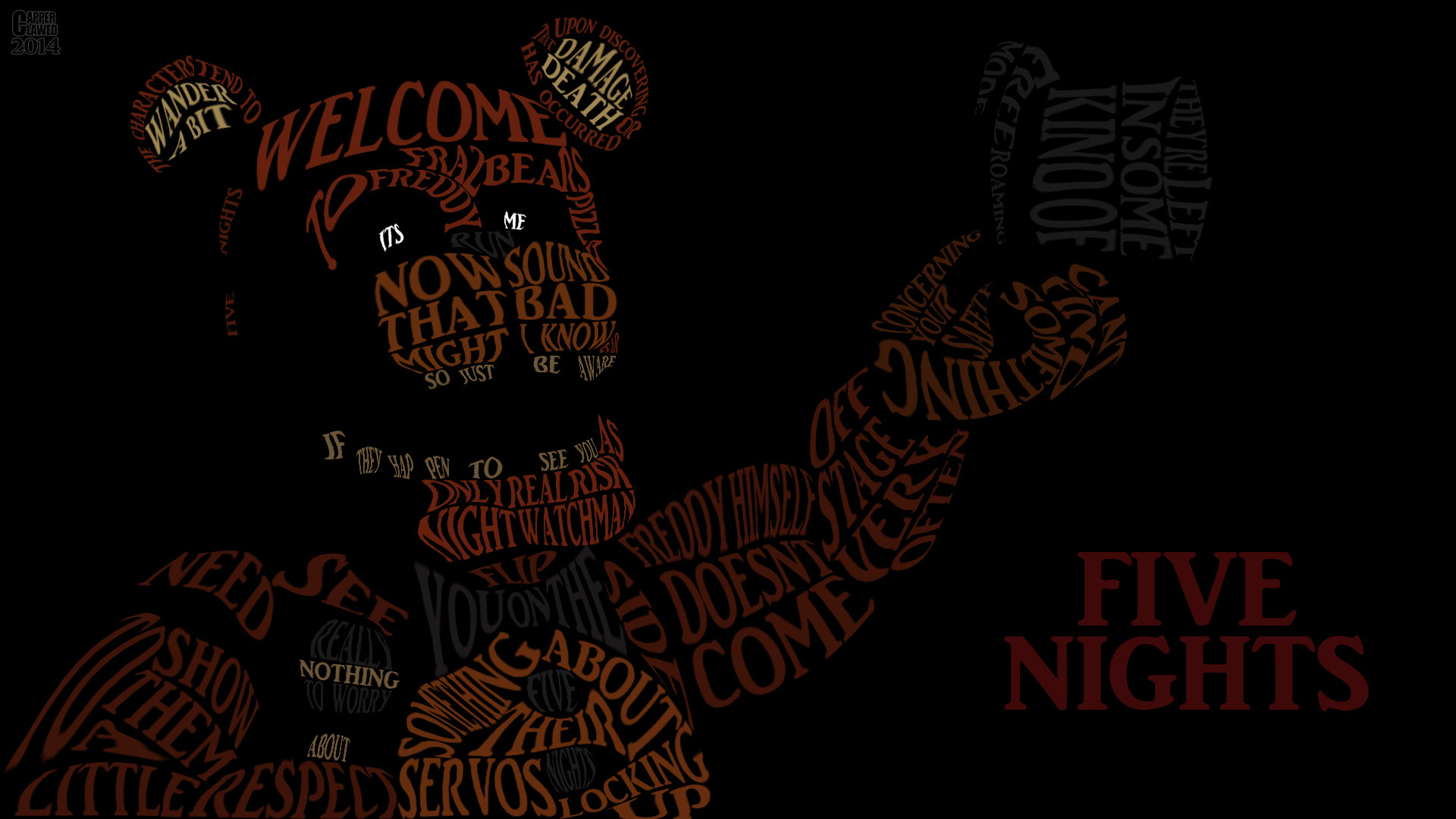 1920x1080 Five Night at Freddys word art by CapperClawed