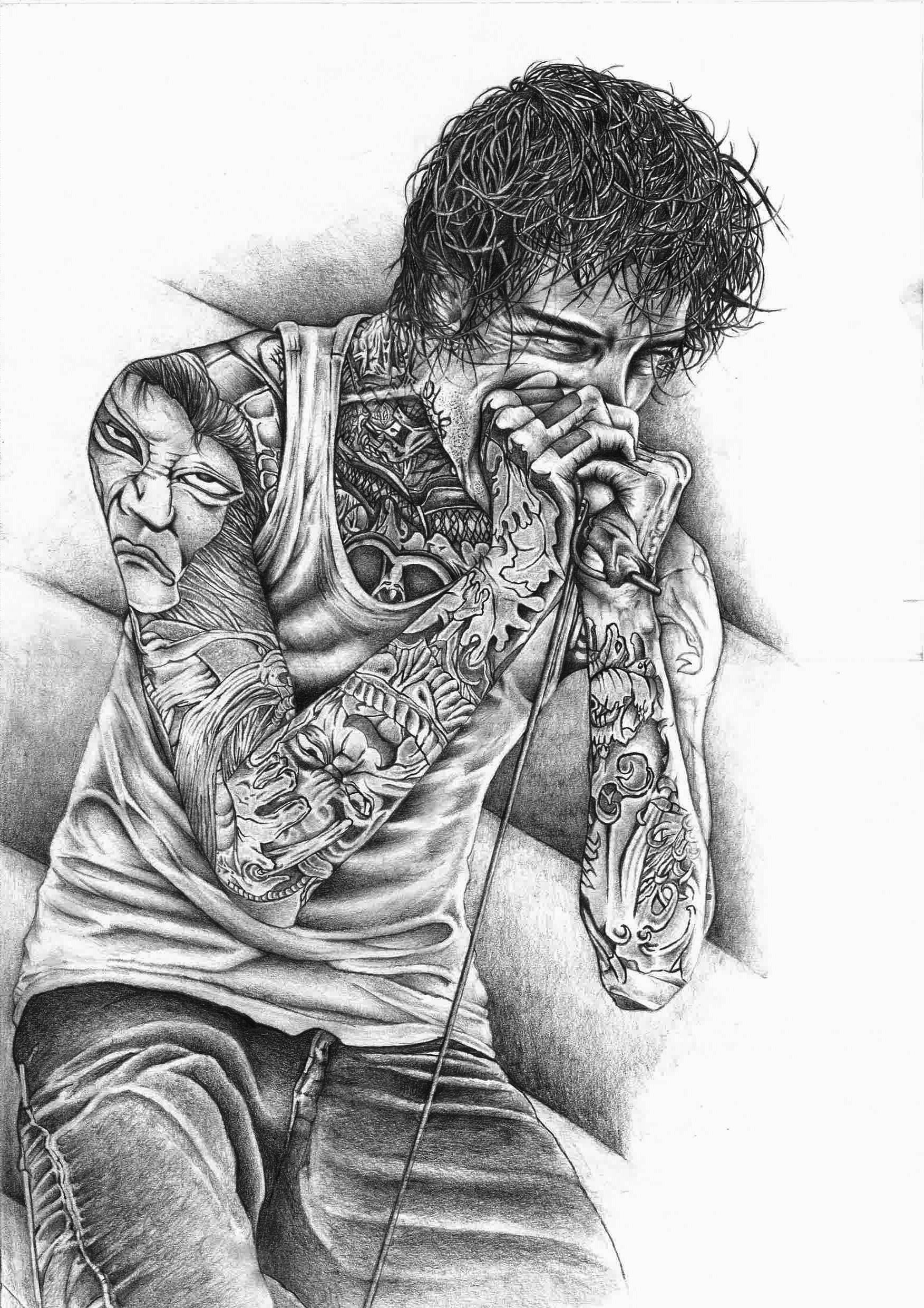 1753x2480 Mitch Lucker, Suicide Silence, Deathcore, Drawing, Tattoo Wallpapers HD /  Desktop and Mobile Backgrounds