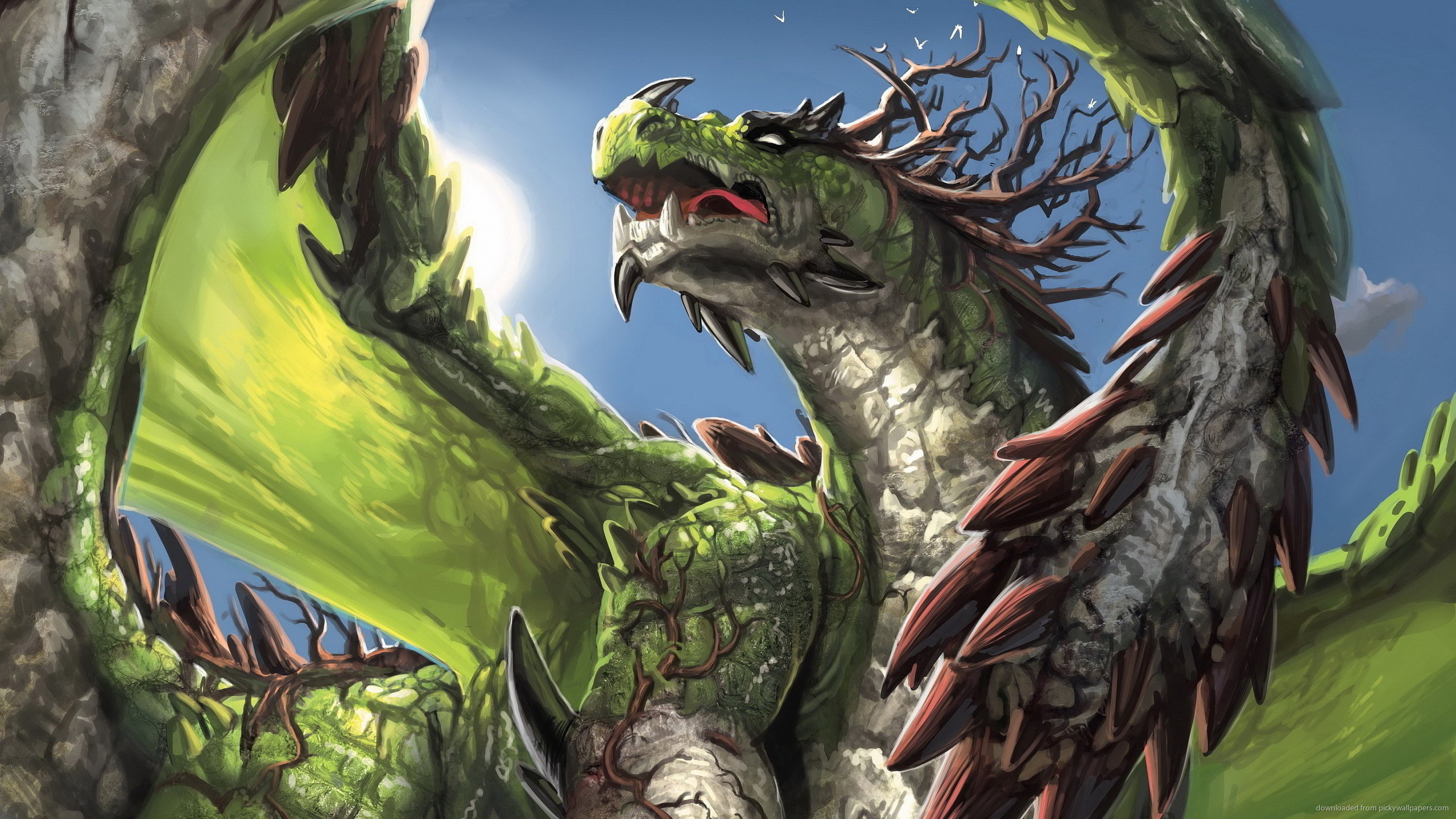 2560x1440 Green Dragon Fantasy Widescreen Wallpaper for