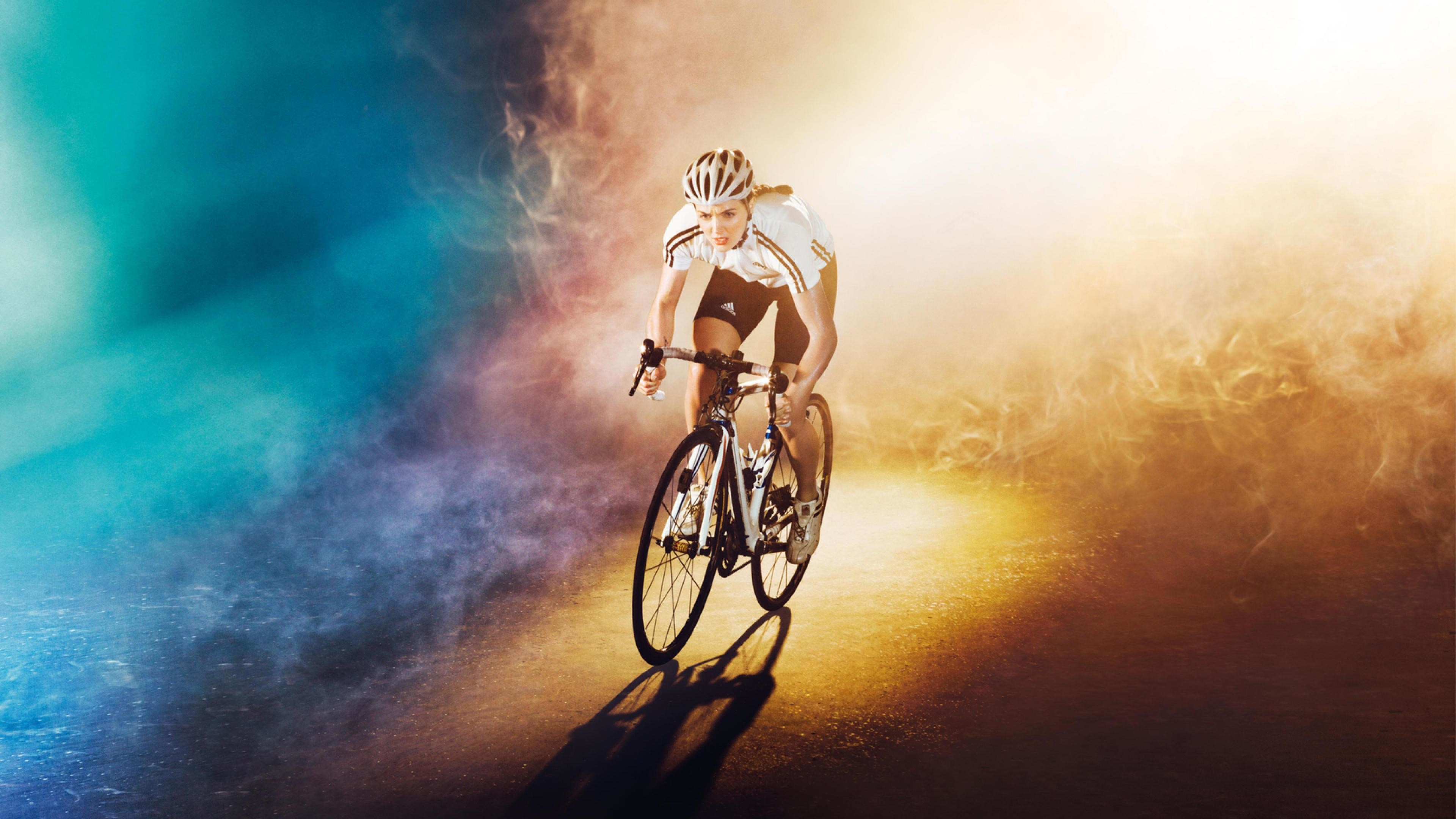 3840x2160 olympiad_bike_bicycle_girl_road_color_light_ultra-HD Wallpapers