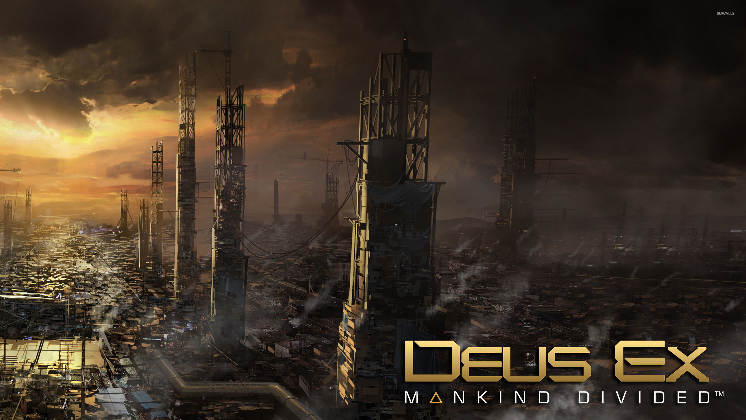 2560x1440 Sunset above the city in Deus Ex: Mankind Divided wallpaper  jpg