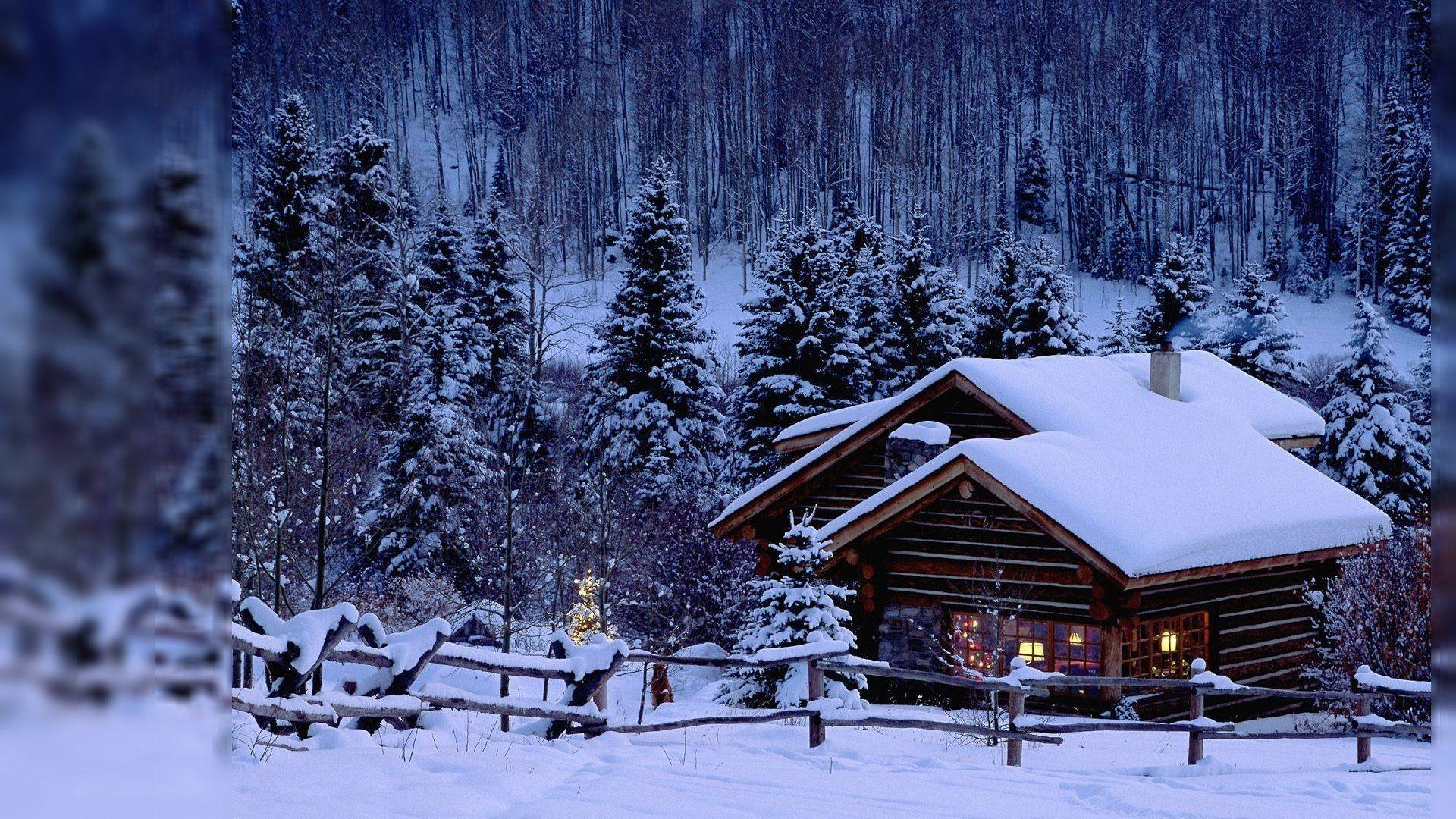 Beautiful Winter Stream Cabins Scene
