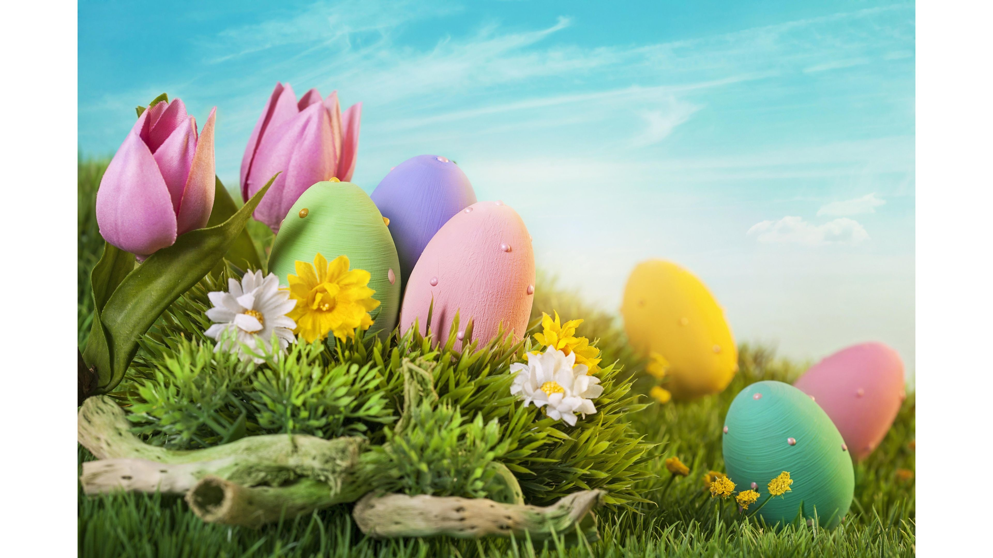 3840x2160 Pastel Colored Eggs Happy Easter 4K Wallpaper