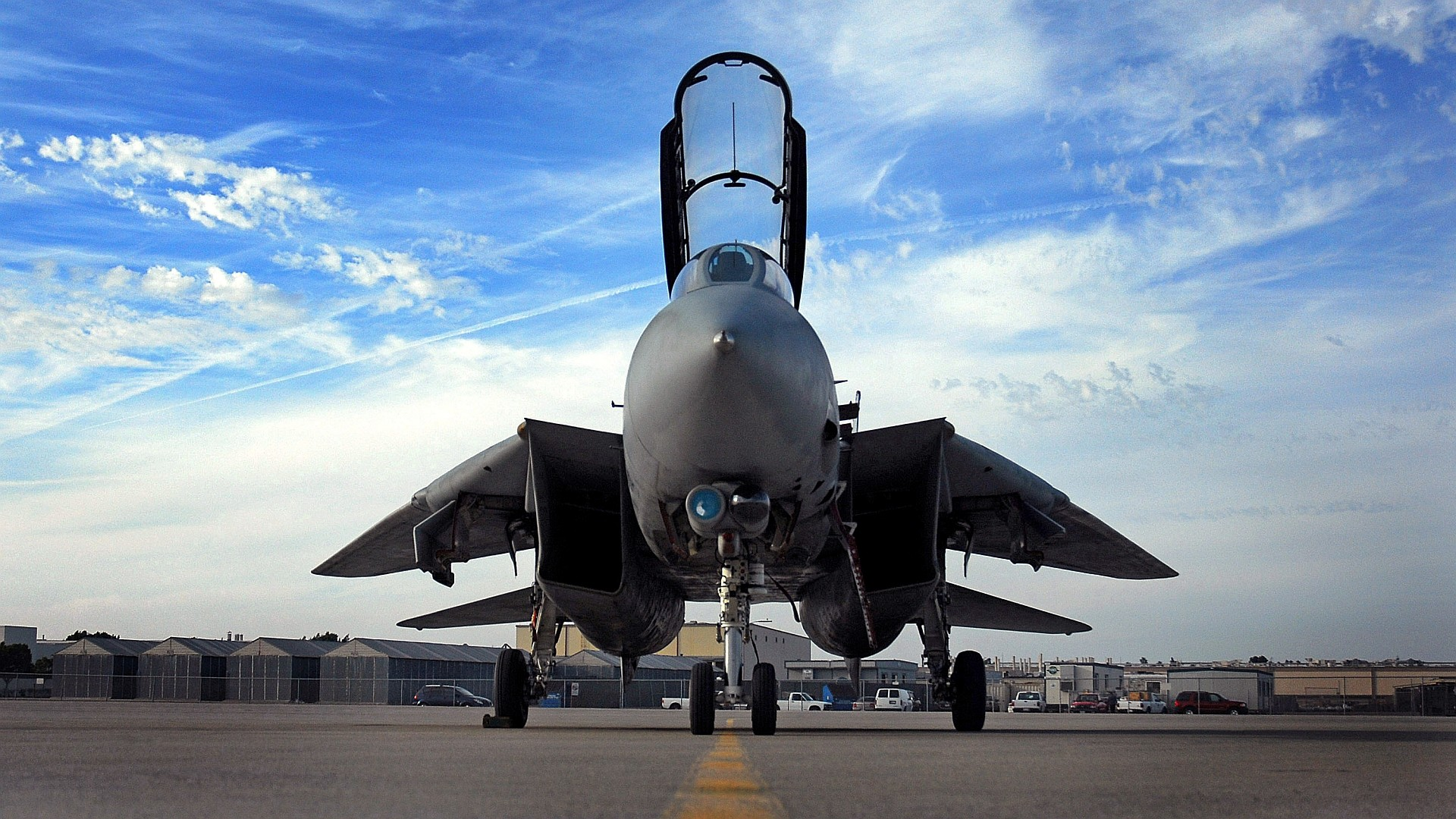 1920x1080  HD wallpaper of a F-14 Tomcat on the tarmac. The widescreen  version (2560x1600) of this #wallpaper can be found at  http://i.imgur.com/cK716ar.jpg ...